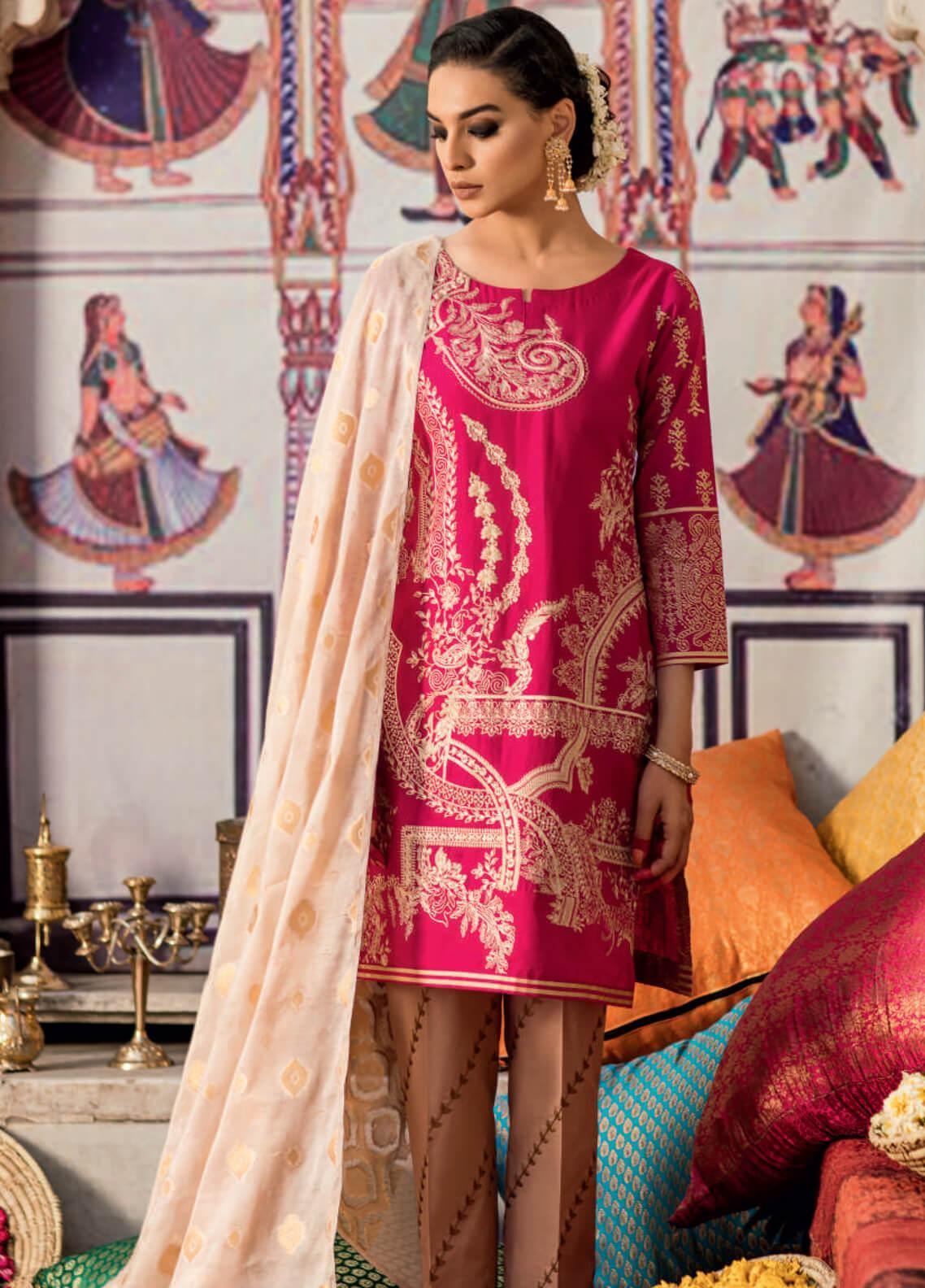 bb58c7ba2e8 Iznik Embroidered Lawn Unstitched 3 Piece Suit IZ19F 05 GULABI ZARKOON -  Festive Collection