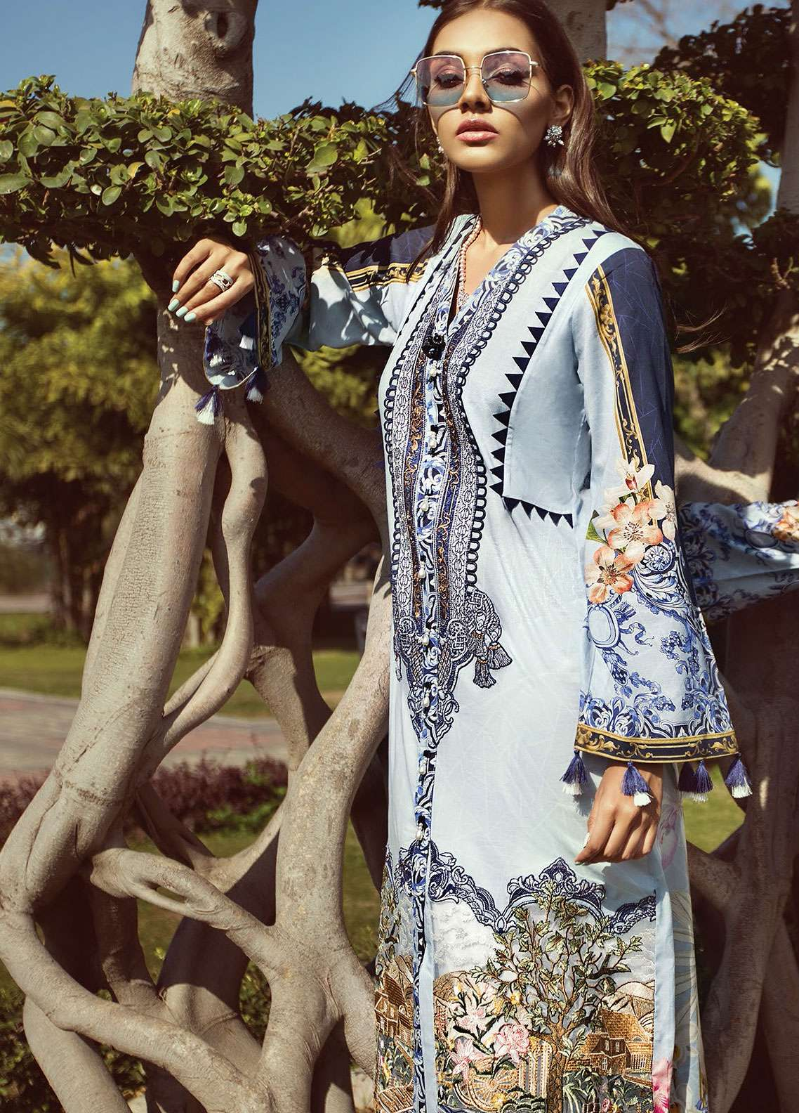 Jazmin by Baroque Embroidered Lawn Unstitched 3 Piece Suit JZ19L 02 HEAVEN HUE - Spring / Summer Collection