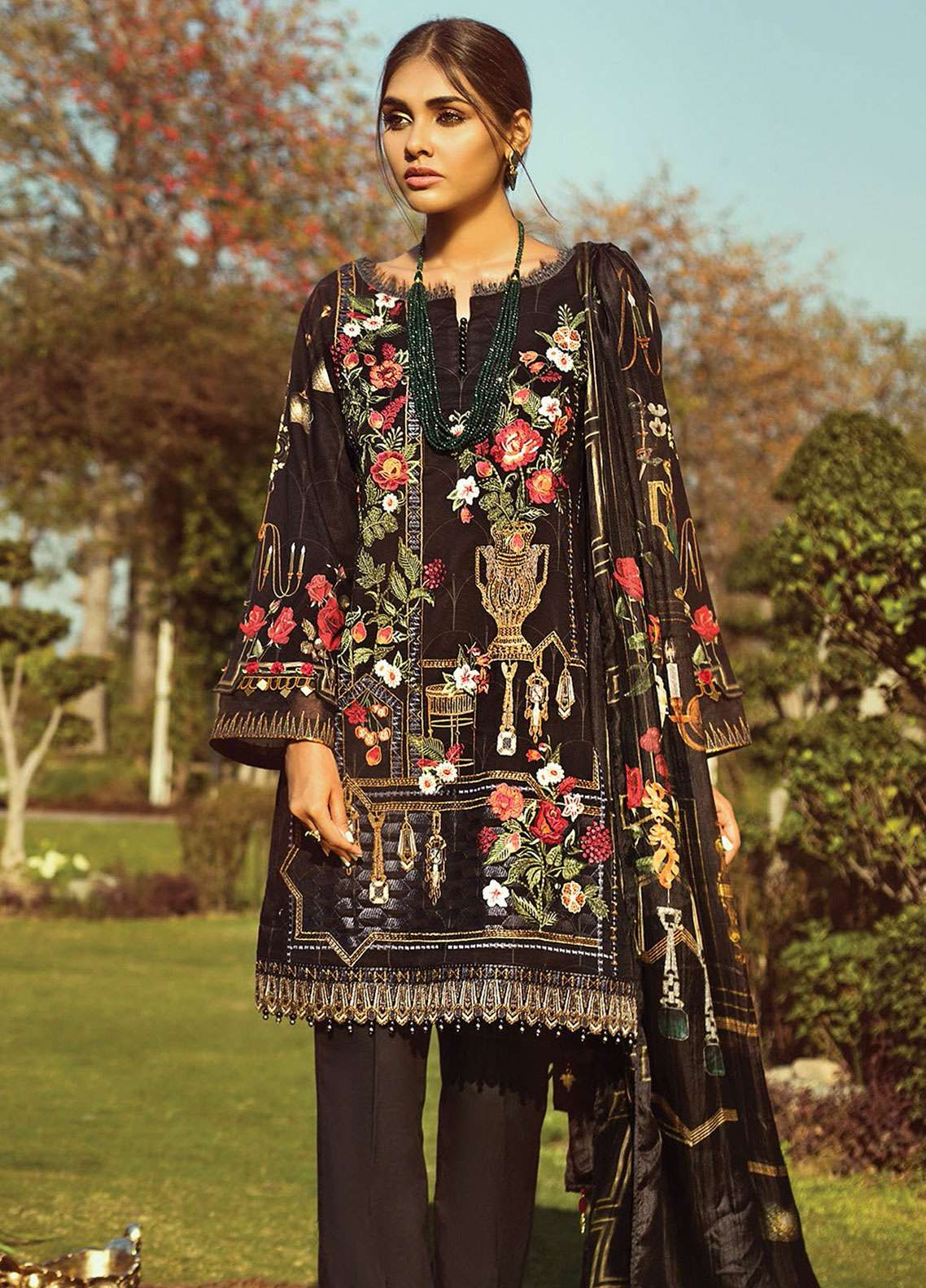 Jazmin by Baroque Embroidered Lawn Unstitched 3 Piece Suit JZ19L 05 BLACK TITANIA - Spring / Summer Collection