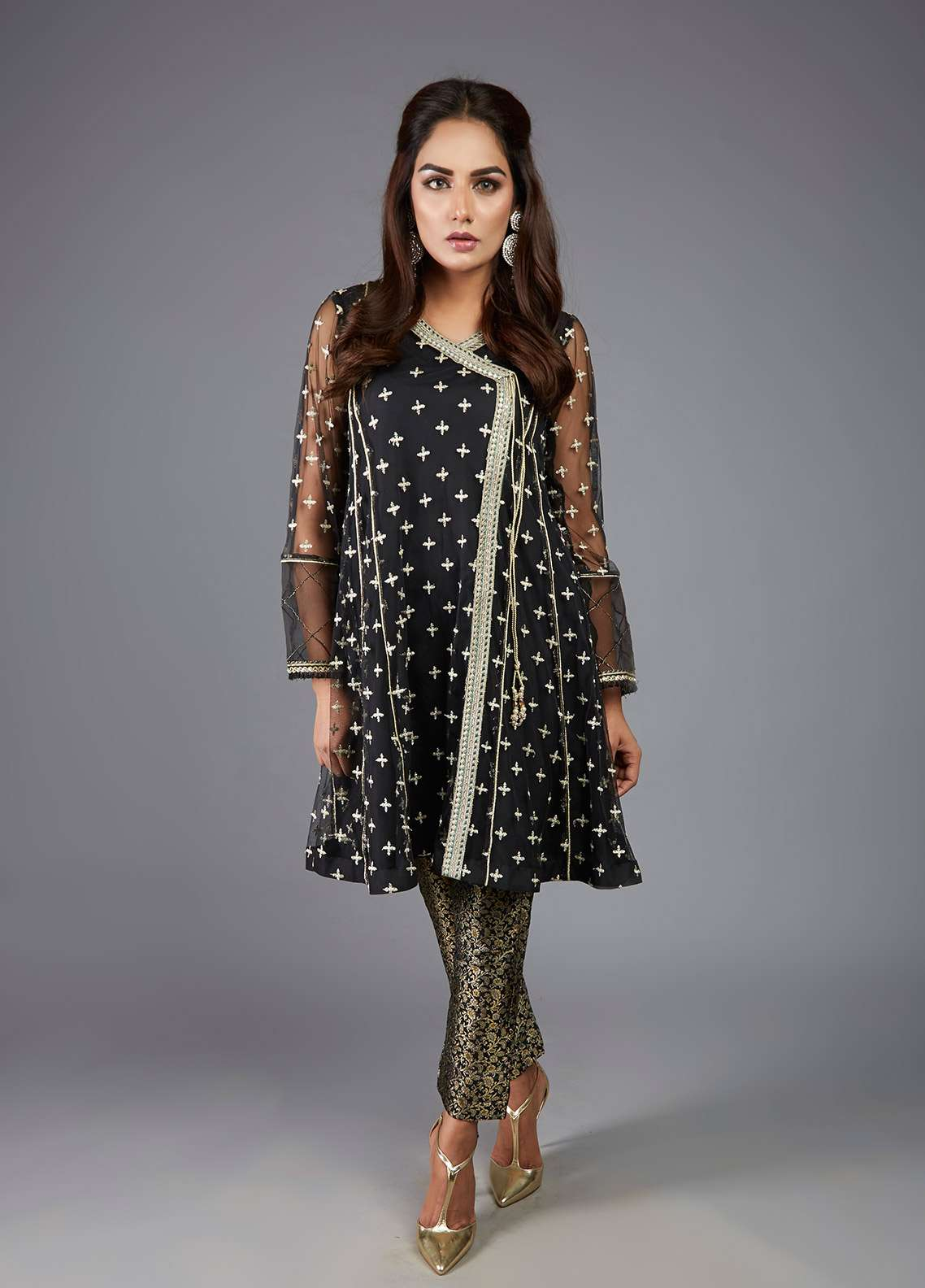 Kaara Embroidered Chiffon Stitched 2 Piece Suit KR497 Black