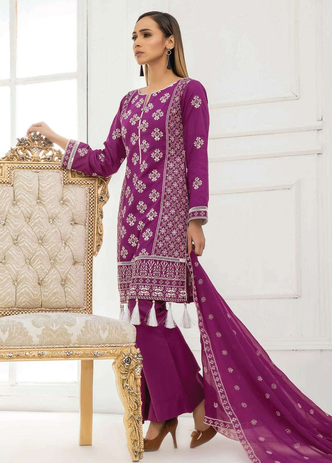 Kalyan By ZS Embroidered Lawn Unstitched 3 Piece Suit KED19EC 03B - Exclusive Collection