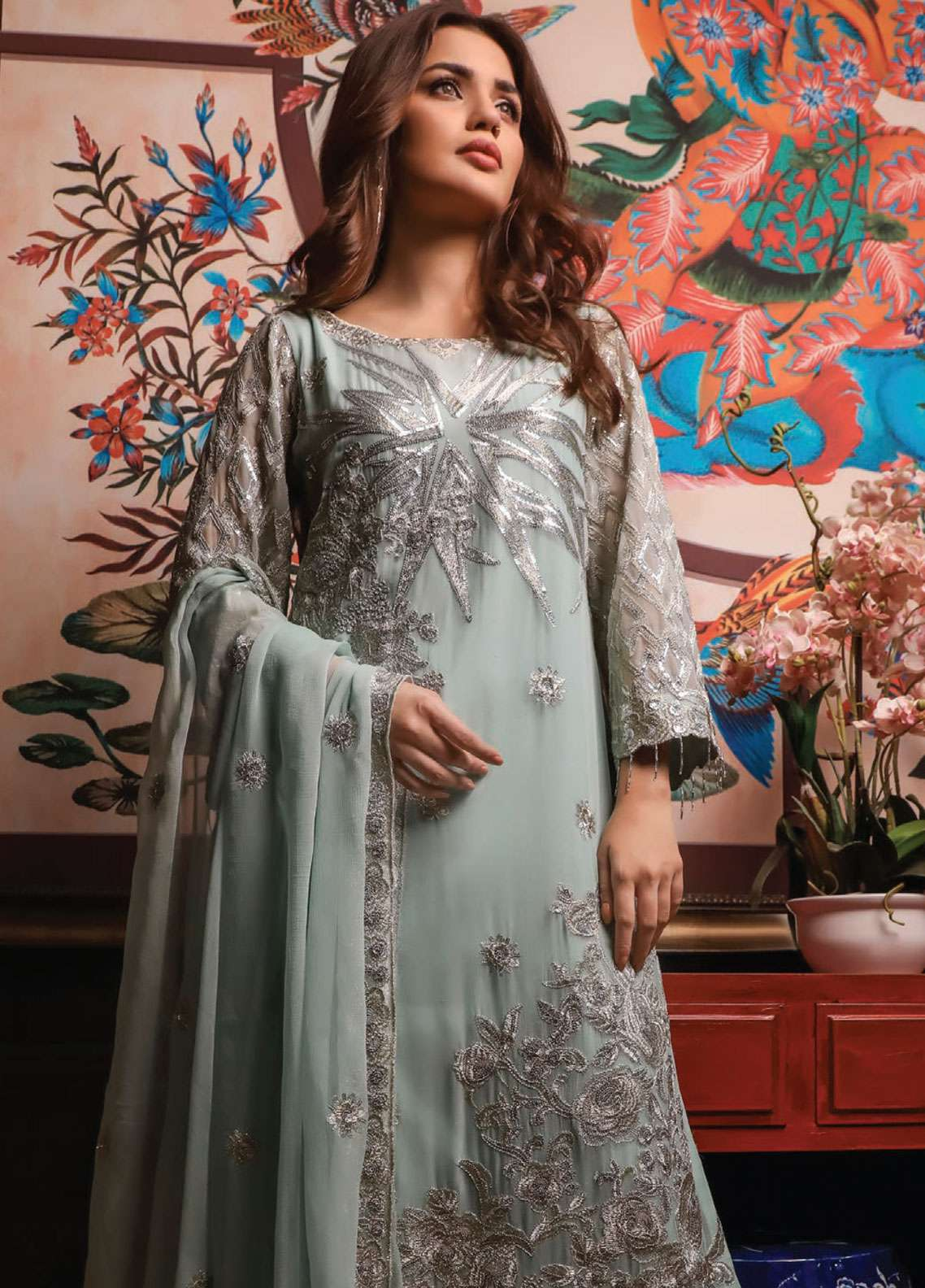 Kalyan By ZS Embroidered Chiffon Unstitched 3 Piece Suit KLY18C 08 - Luxury Collection