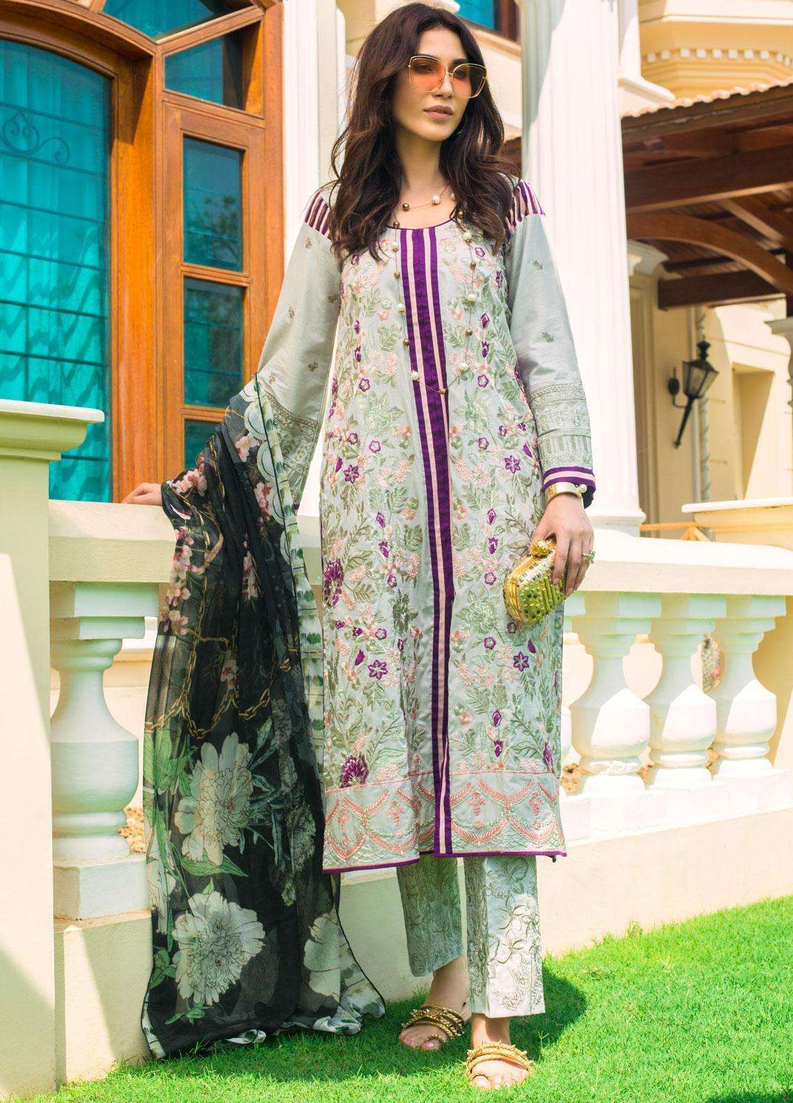 Kalyan By ZS Embroidered Lawn Unstitched 3 Piece Suit KLY19F 10 - Festive Collection