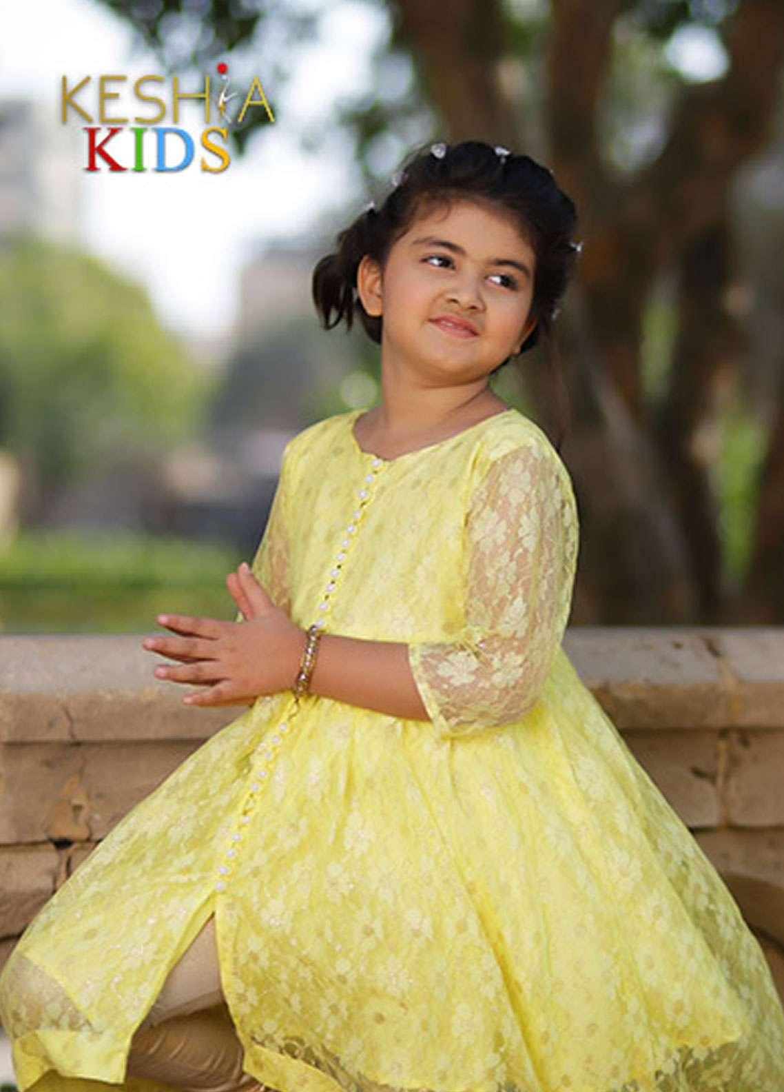 Keshia Zari Net Frock Style Kurtis for Girls -  KD-011 Saffron