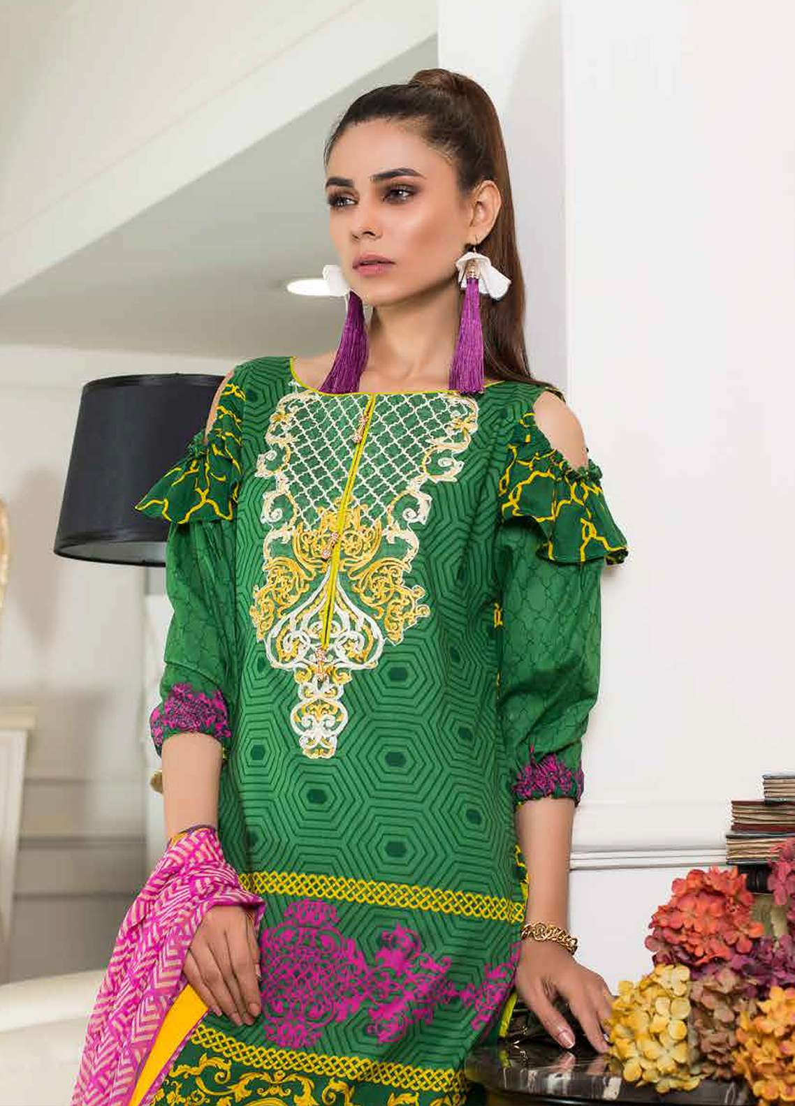 Khadjia Noor Embroidered Lawn Unstitched 3 Piece Suit KDN18L 9A - Summer Collection