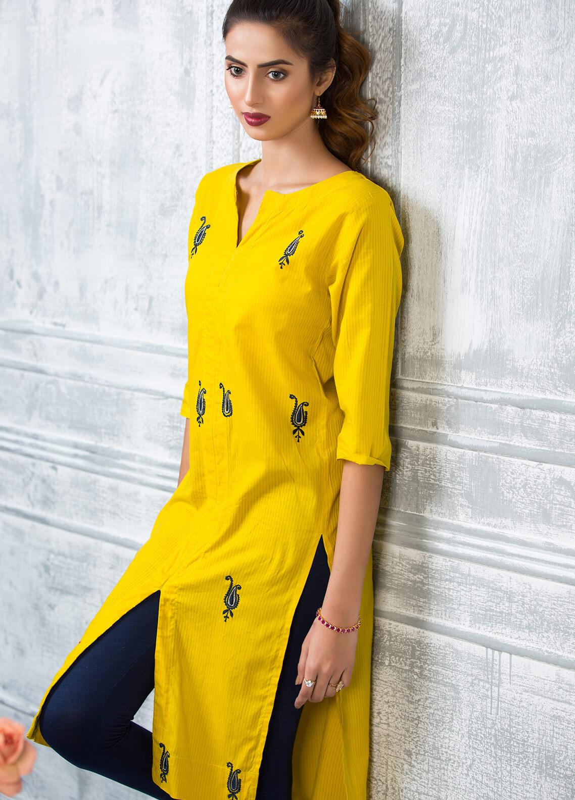 1d915a8e5cc Keshia Embroidered Cotton Stitched Kurtis Khursheed