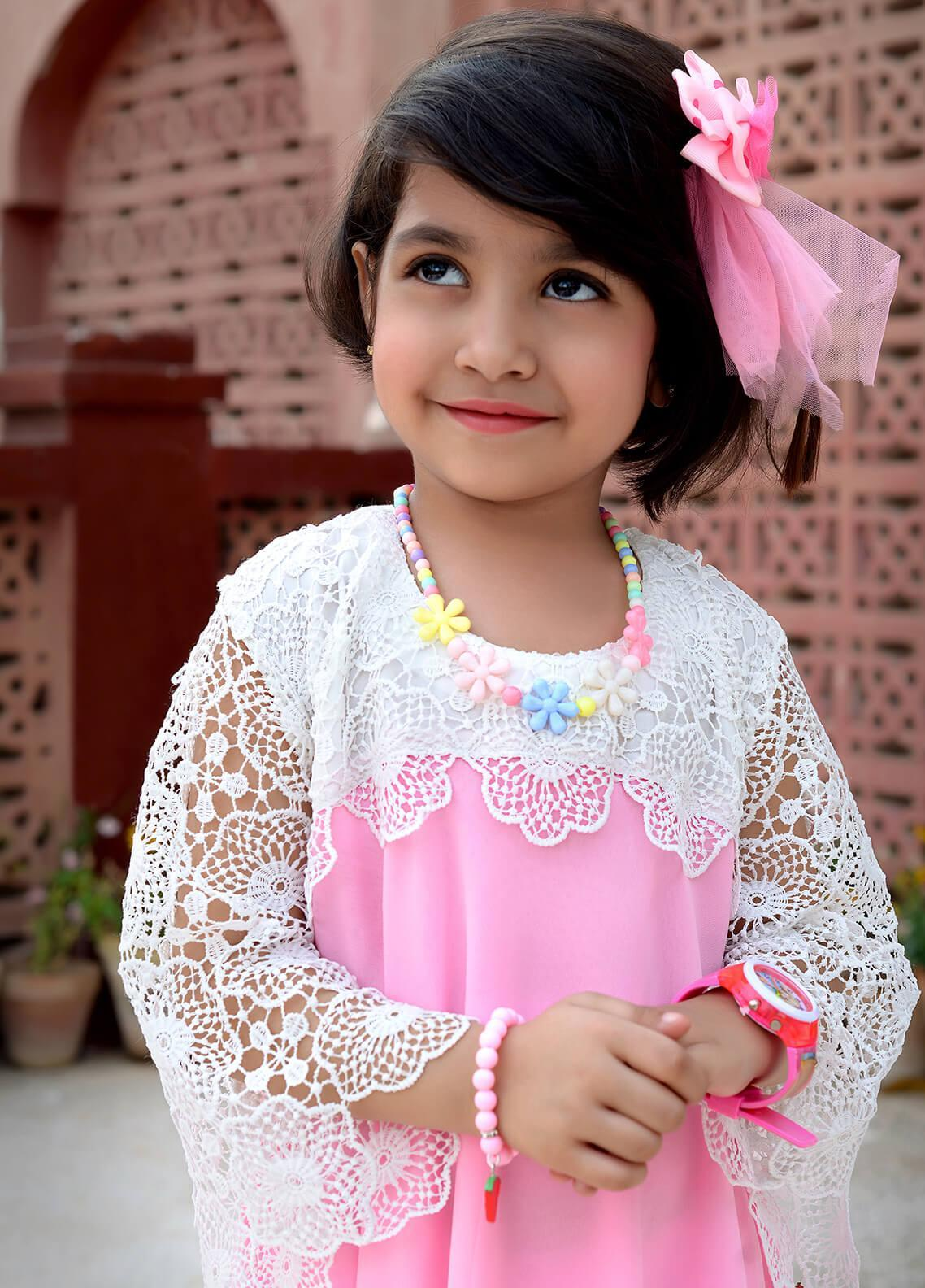 Nargis Shaheen Cotton Net Formal Girls Frocks -  NKS-003 Pink