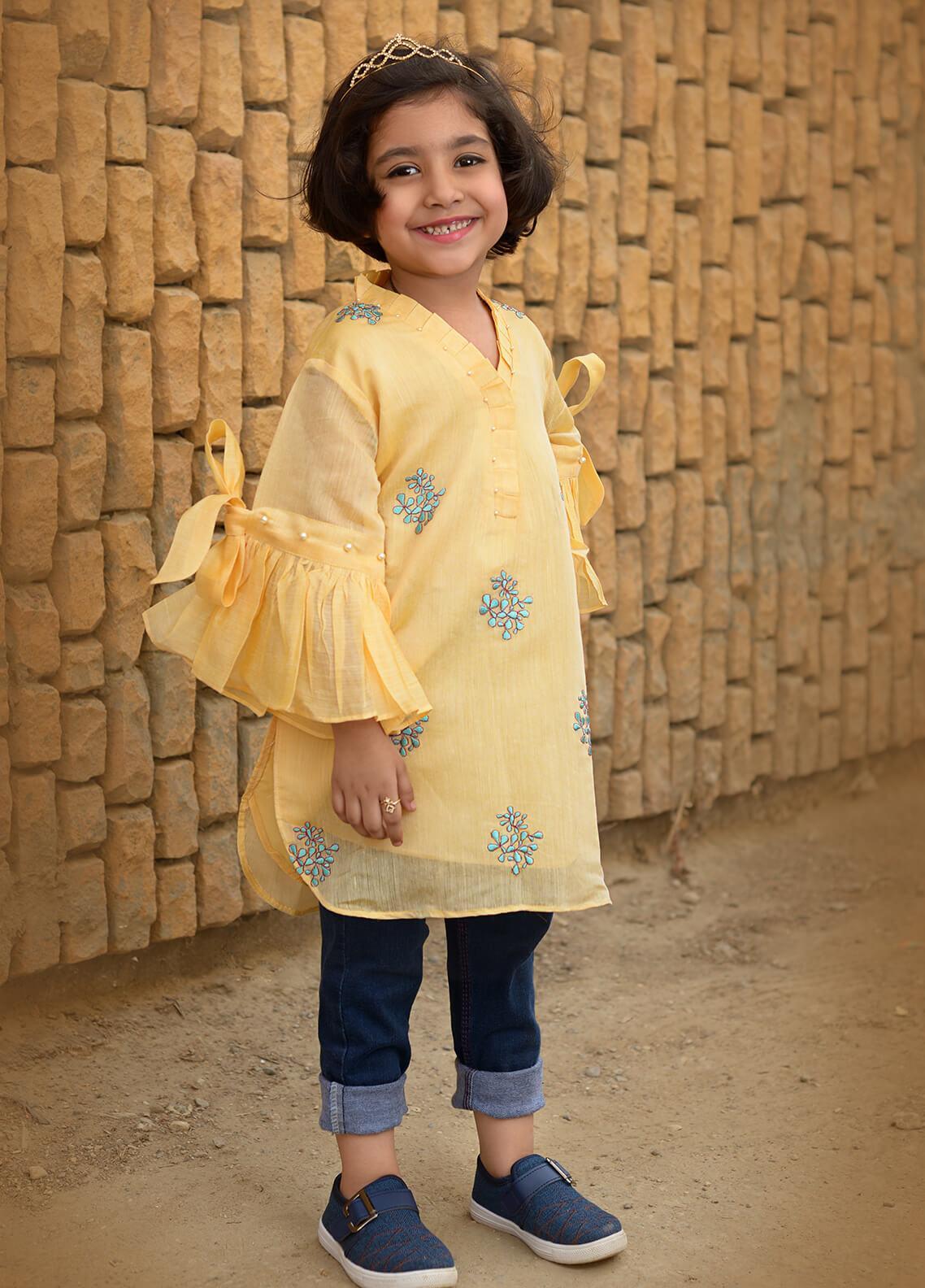 Nargis Shaheen Chiffon Formal Girls Kurtis -  NKS-006 Yellow