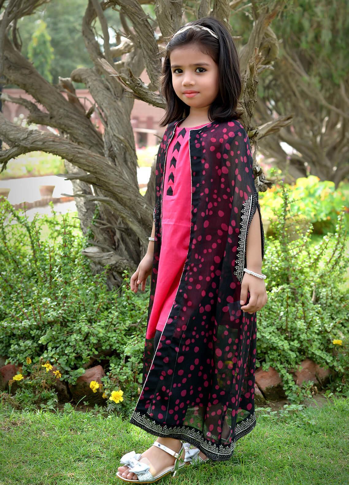 Nargis Shaheen Cotton Net Formal 3 Piece Suit for Girls -  NSK-001 Pink