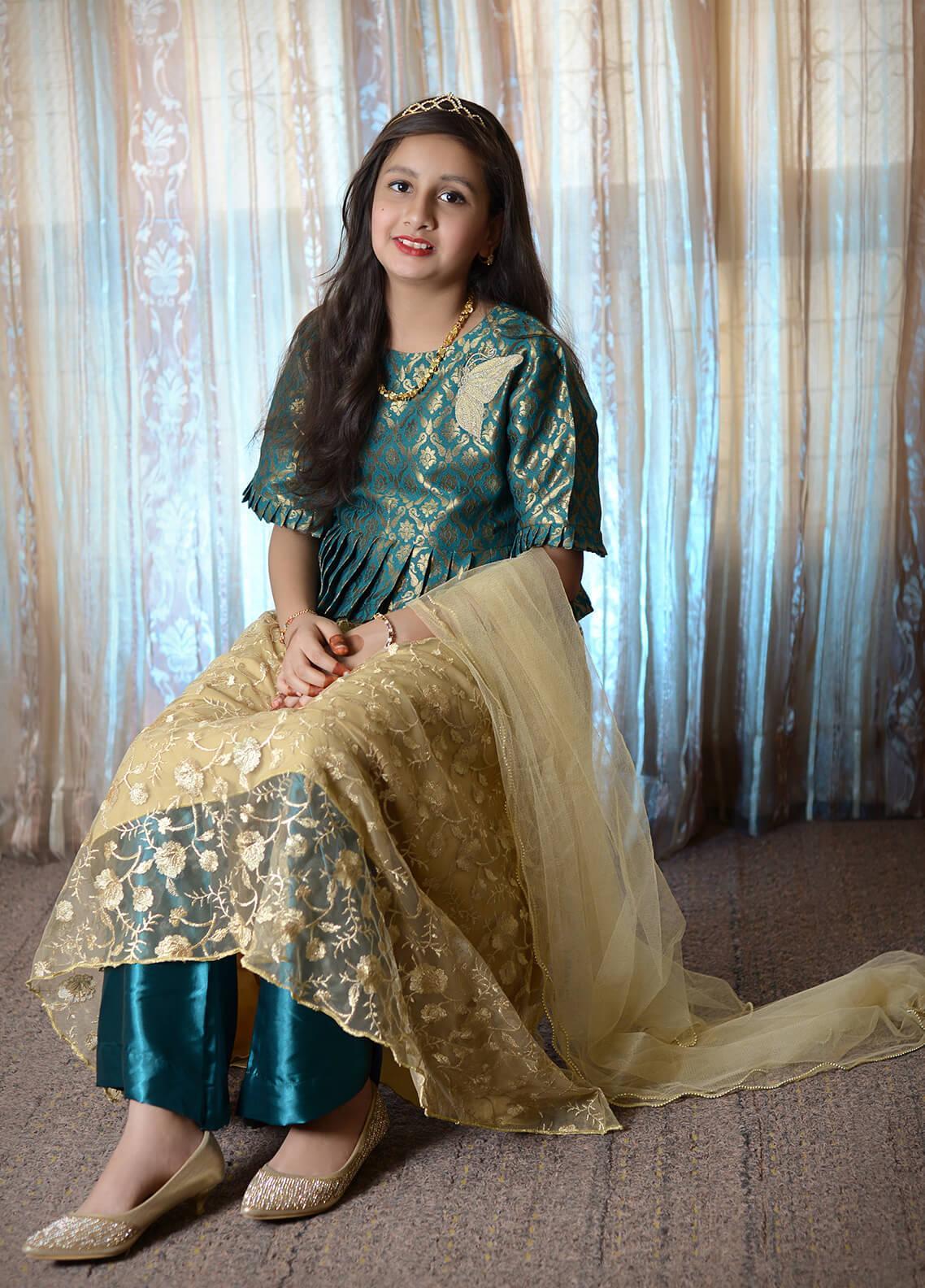 Nargis Shaheen Chiffon Formal 3 Piece Suit for Girls -  NSK-007 Golden