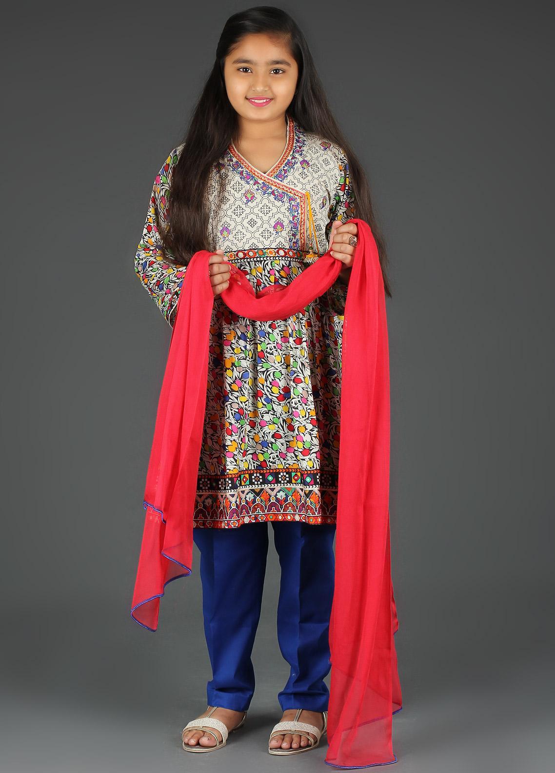 Sanaulla Exclusive Range Cotton Embroidered Girls 3 Piece Suits -  5411G Blue