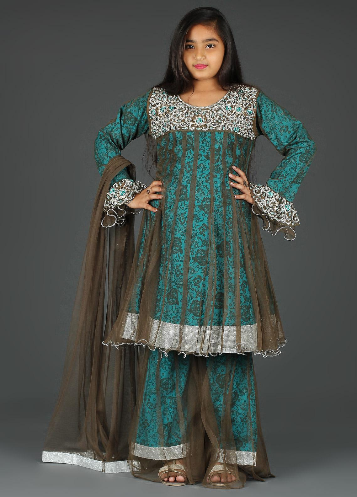 Sanaulla Exclusive Range Cotton Net Embroidered 3 Piece Suits for Girls -  G-253 Blue