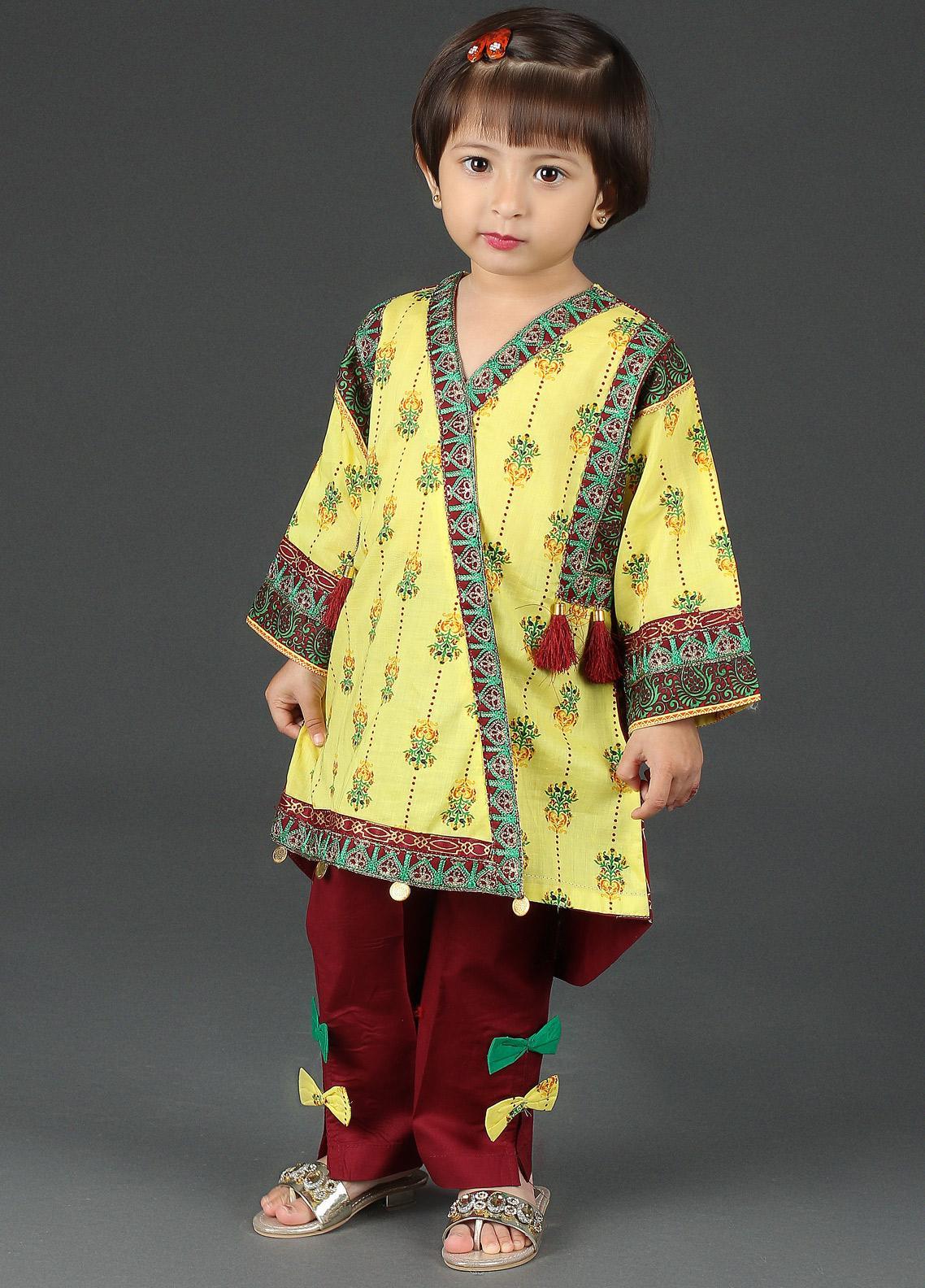 Sanaulla Exclusive Range Cotton Net Embroidered Girls 2 Piece Suits -  K-17432 Yellow