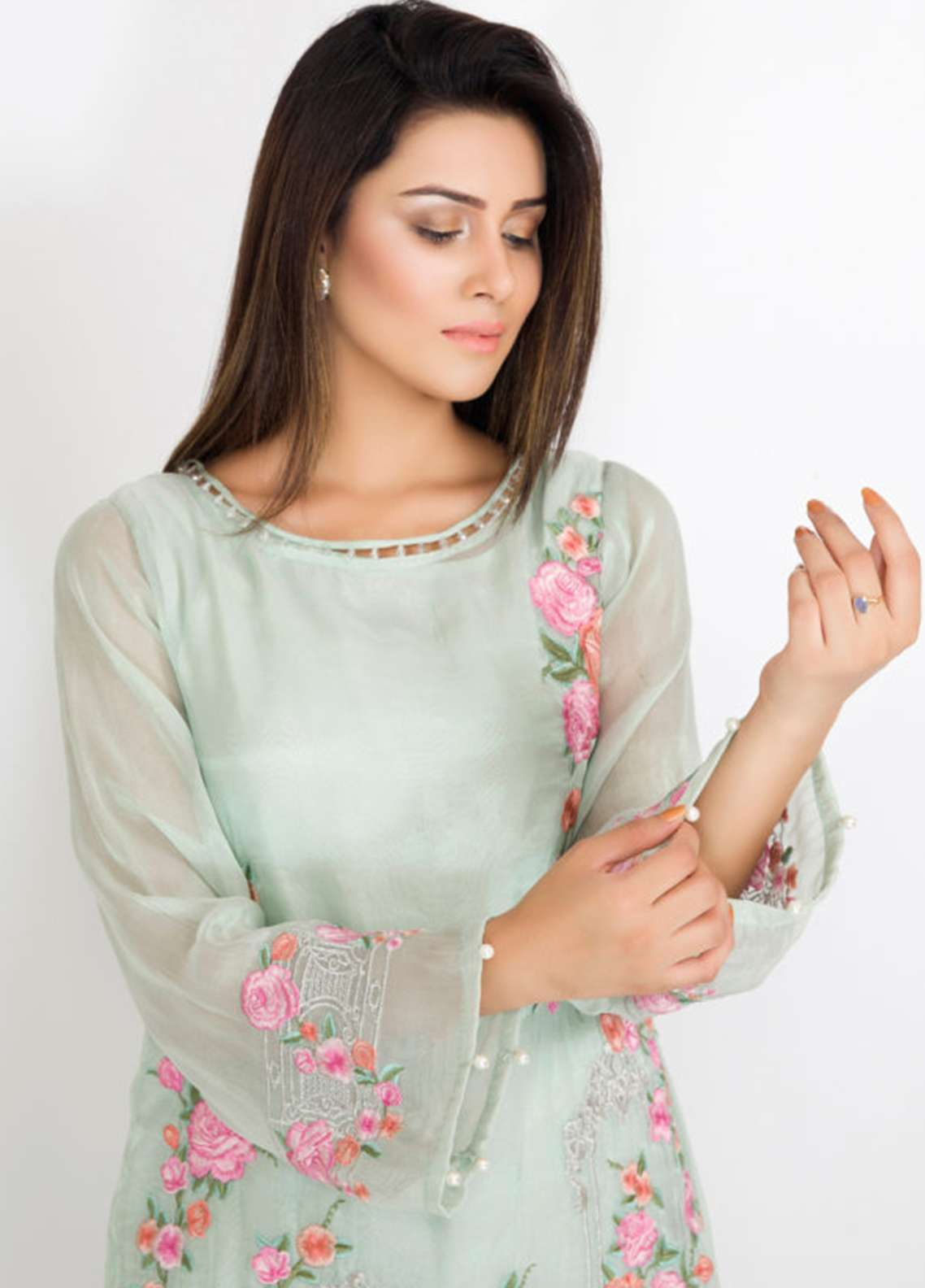Kross Kulture Embroidered Messori Stitched Kurtis KK18K 792 AQUA