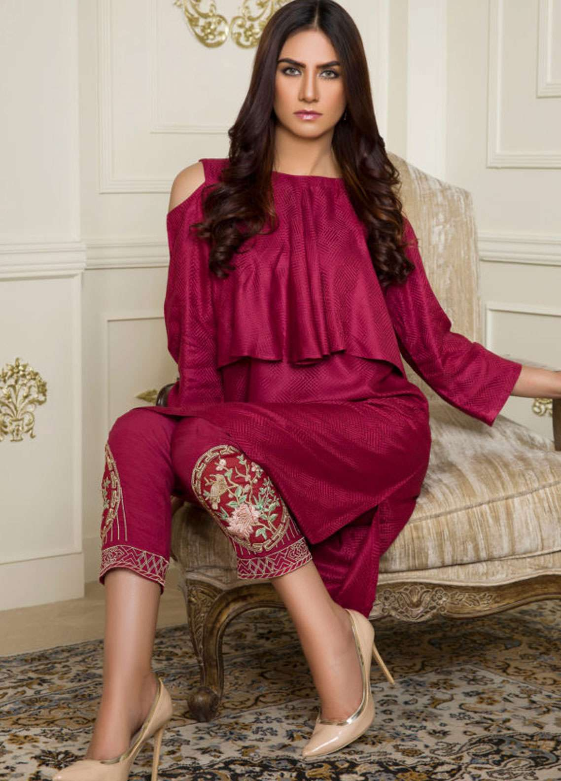 Kross Kulture Embroidered Jacquard Stitched 2 Piece Suit BJ-19006 Maroon