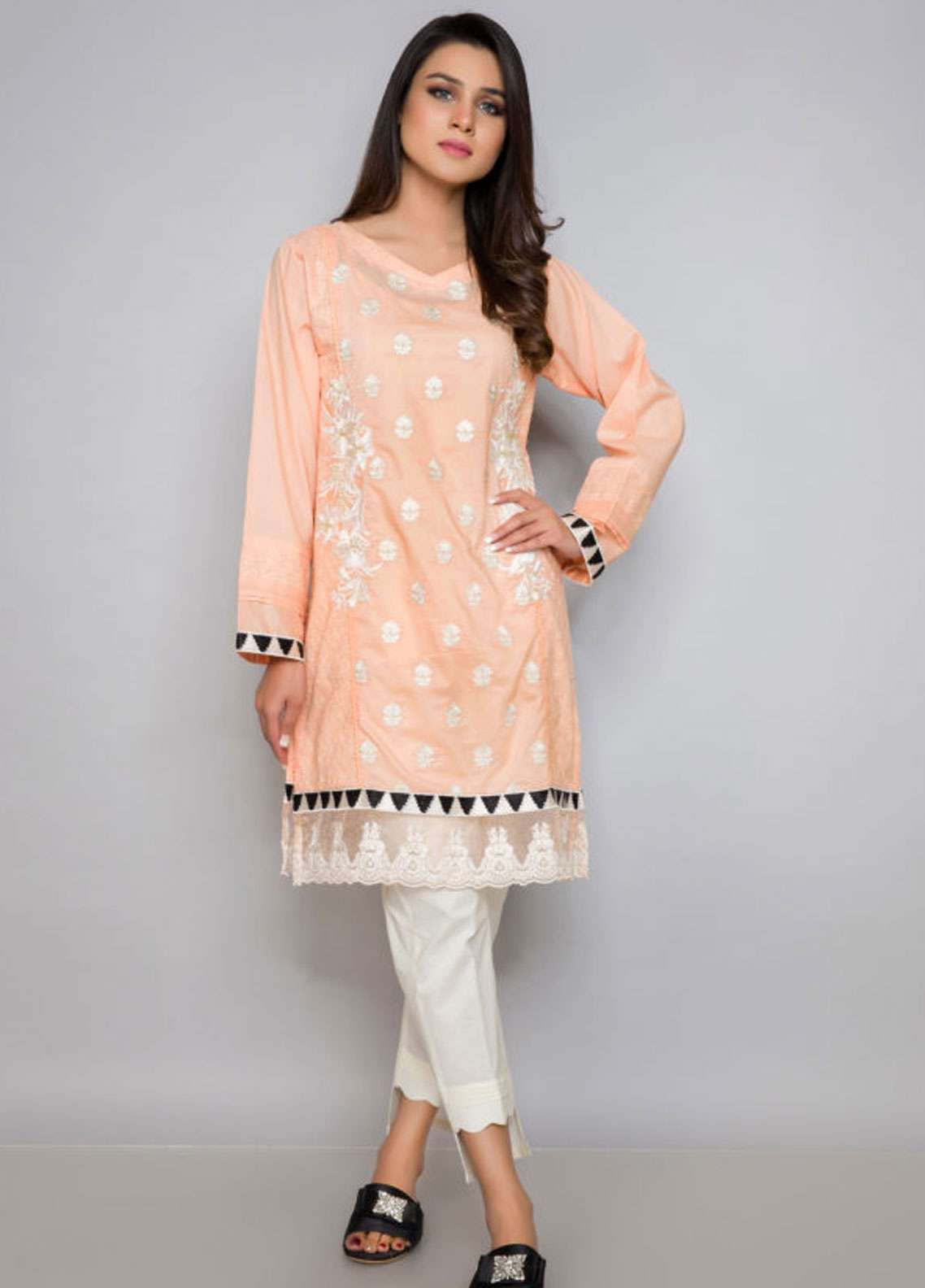 Kross Kulture Embroidered Cotton Net Stitched Kurtis ES-19032 Peach