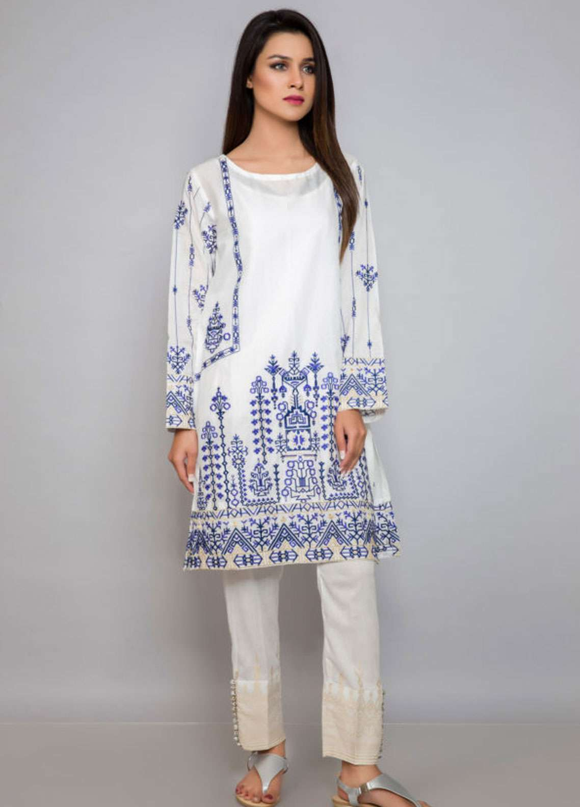 Kross Kulture Embroidered Lawn Stitched Kurtis ES-19082 White