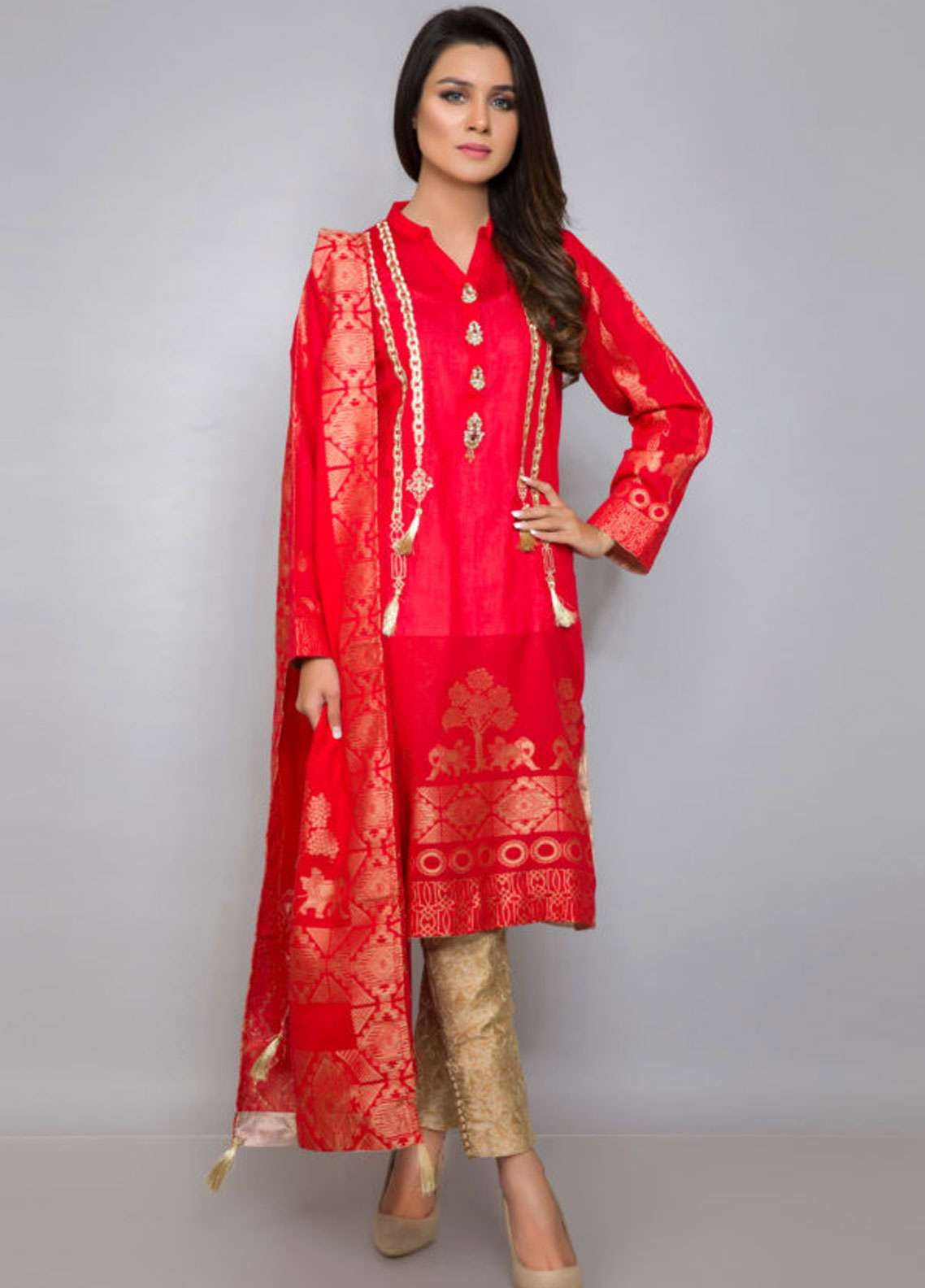Kross Kulture Embroidered Jacquard Stitched 2 Piece Suit ES-19086 Red