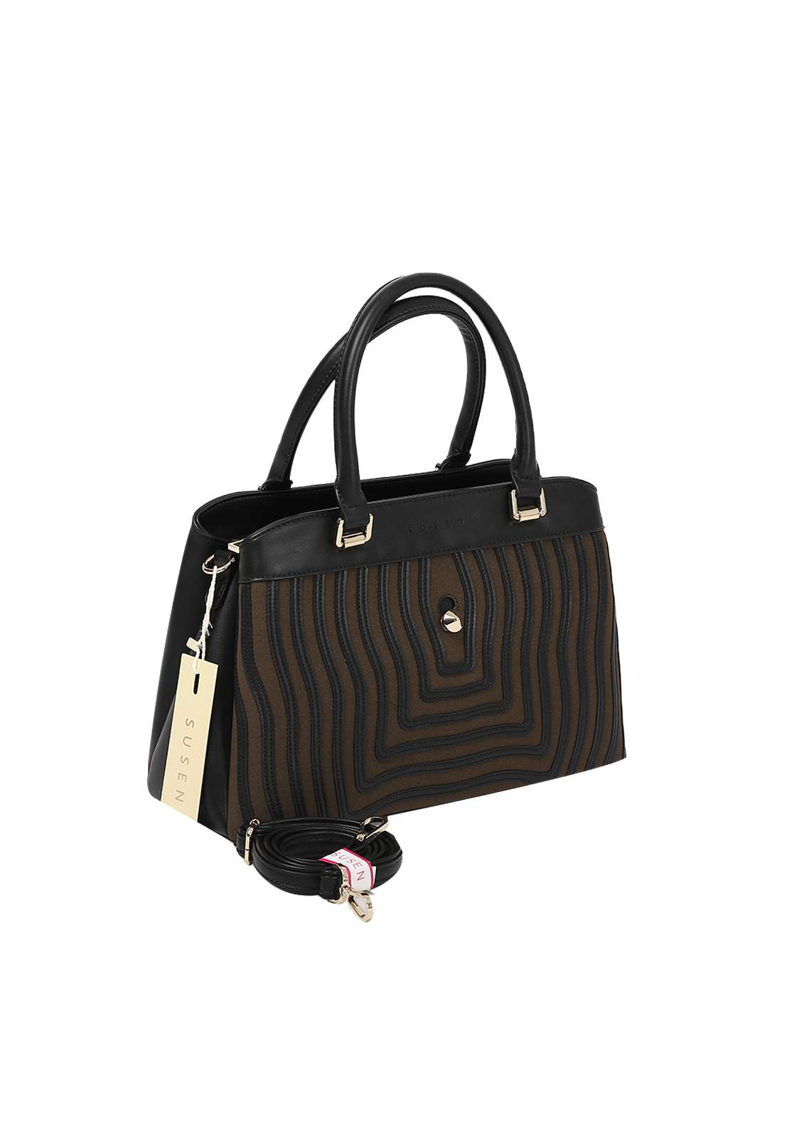 Susen PU Leather Satchels Bag for Women - Black with Stripes