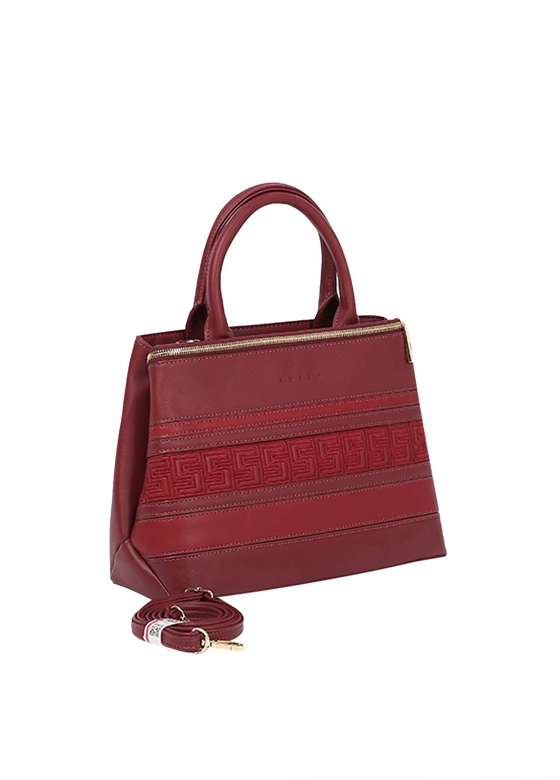Susen PU Leather Satchels Bag for Women - Maroon with Stripes