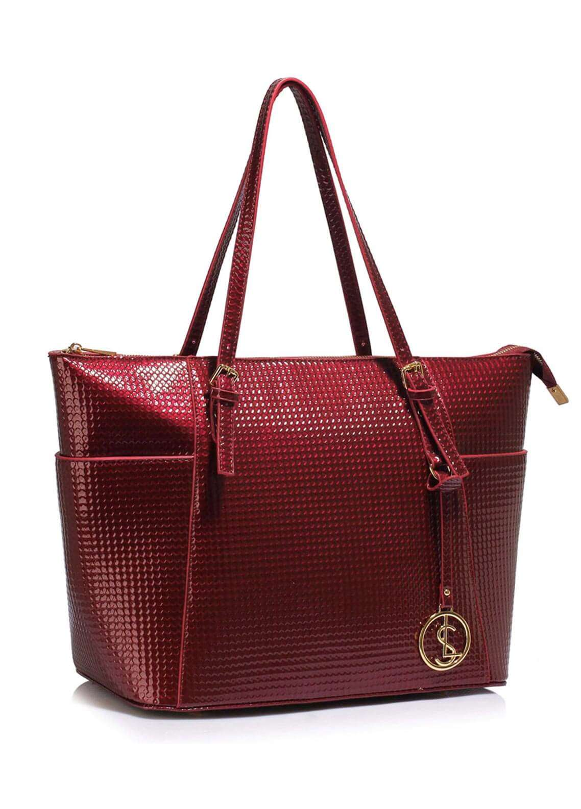 Leesun London  Faux Leather Tote  Bags for Woman - Burgundy