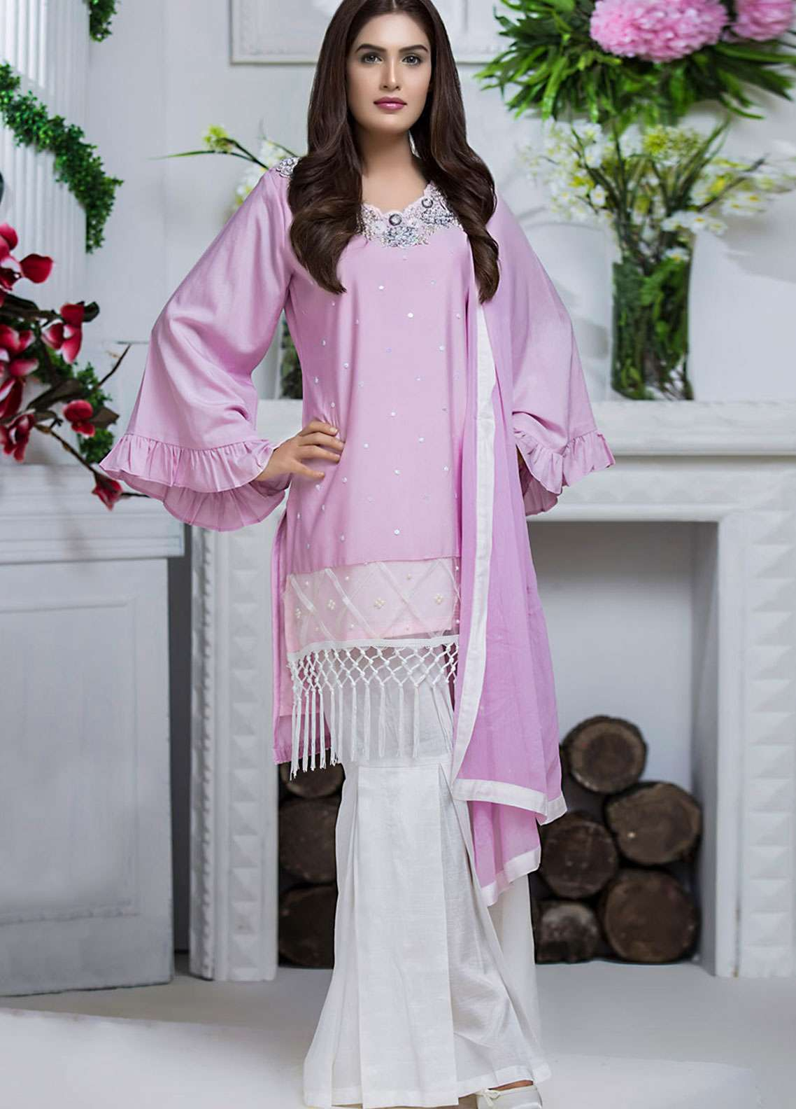 Chic Ophicial Embroidered  Stitched 3 Piece Suit LILAC BLOSSOM