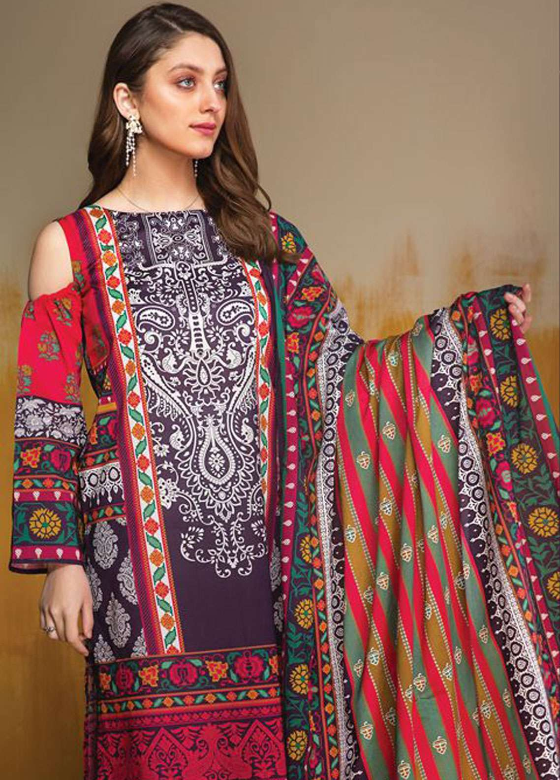 LimeLight Printed Lawn Unstitched 2 Piece Suit LL19L U0691 Purple Folk Festive - Spring / Summer Collection