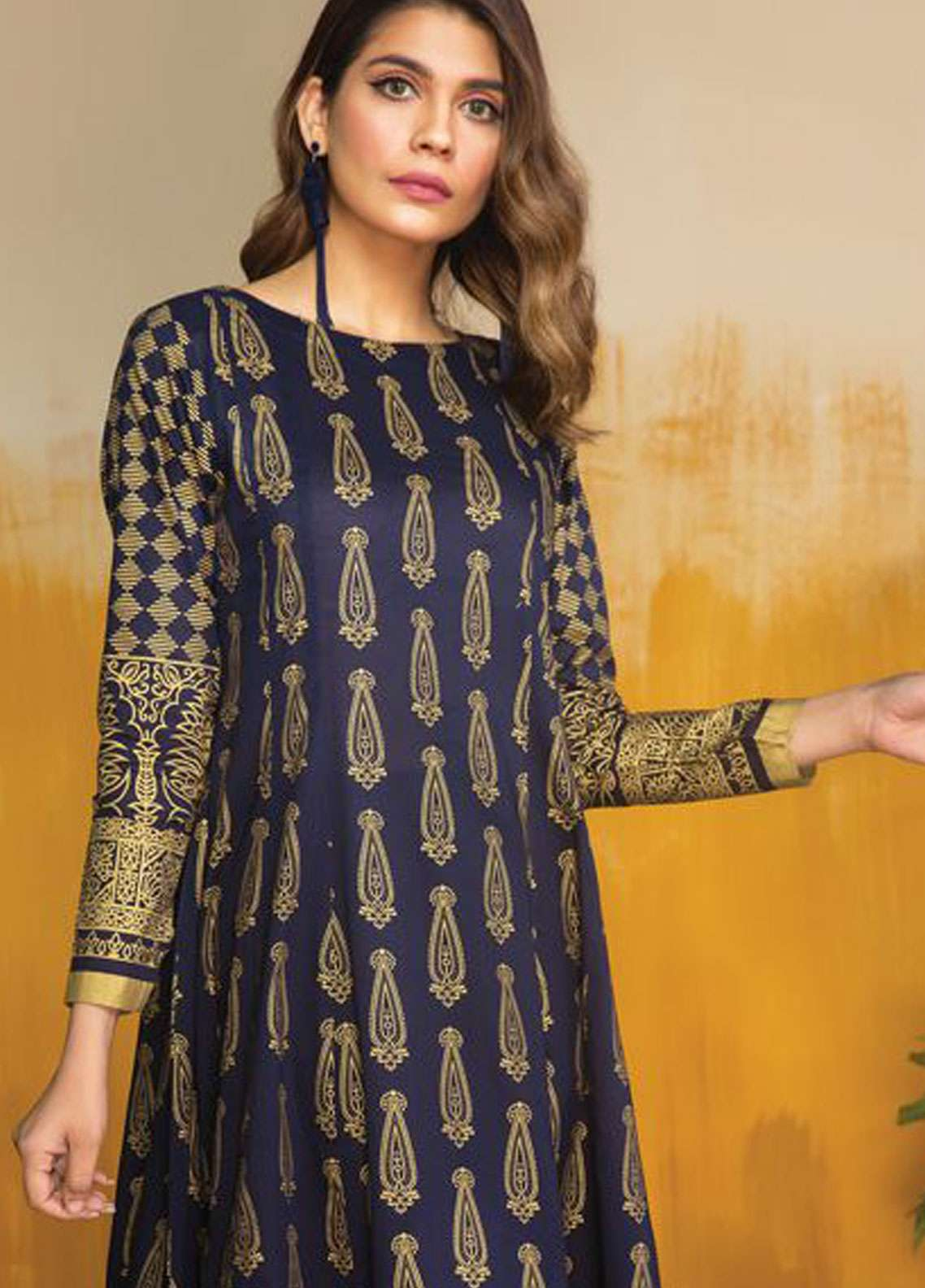 LimeLight Printed Lawn Unstitched Kurties LL19L U0707 Blue Gold Valley - Spring / Summer Collection