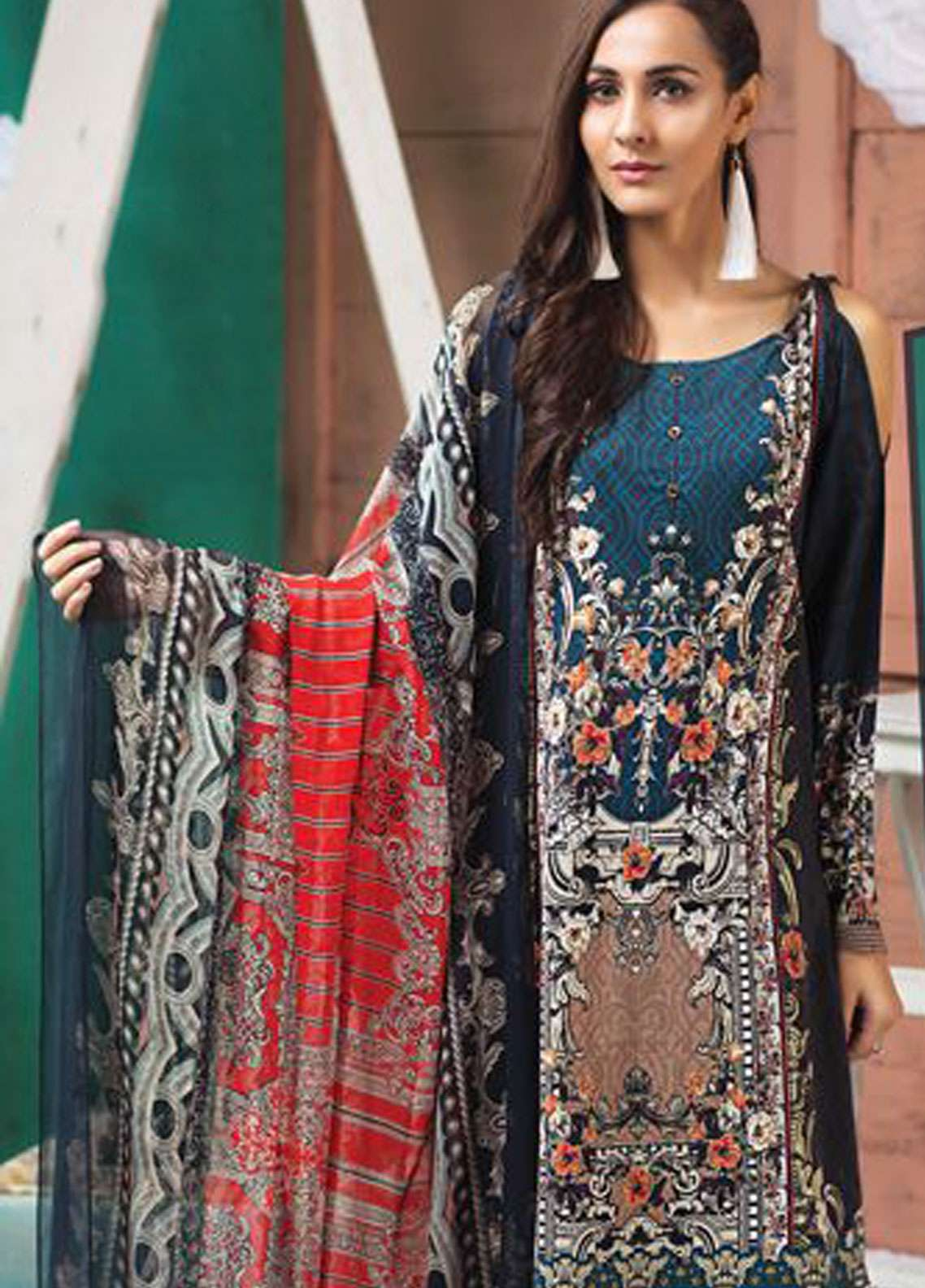 LimeLight Printed Lawn Unstitched 2 Piece Suit LL19L U0711 Blue Expression Gild - Spring / Summer Collection