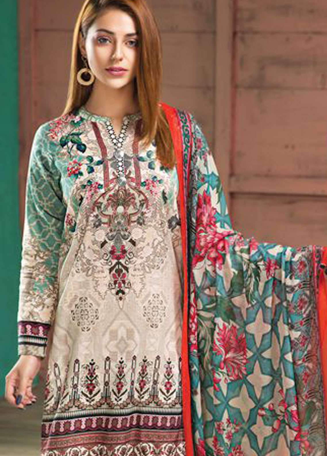 LimeLight Printed Lawn Unstitched 2 Piece Suit LL19L U0712 Aqua Botanical Tide - Spring / Summer Collection