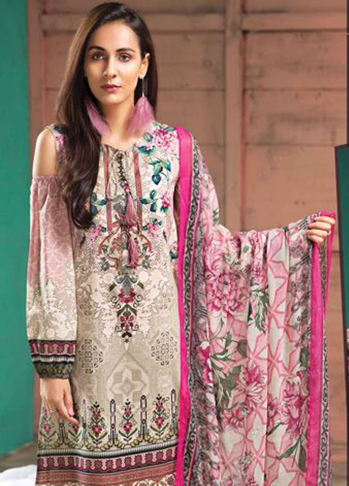 LimeLight Printed Lawn Unstitched 2 Piece Suit LL19L U0712 Pink Botanical Tide - Spring / Summer Collection