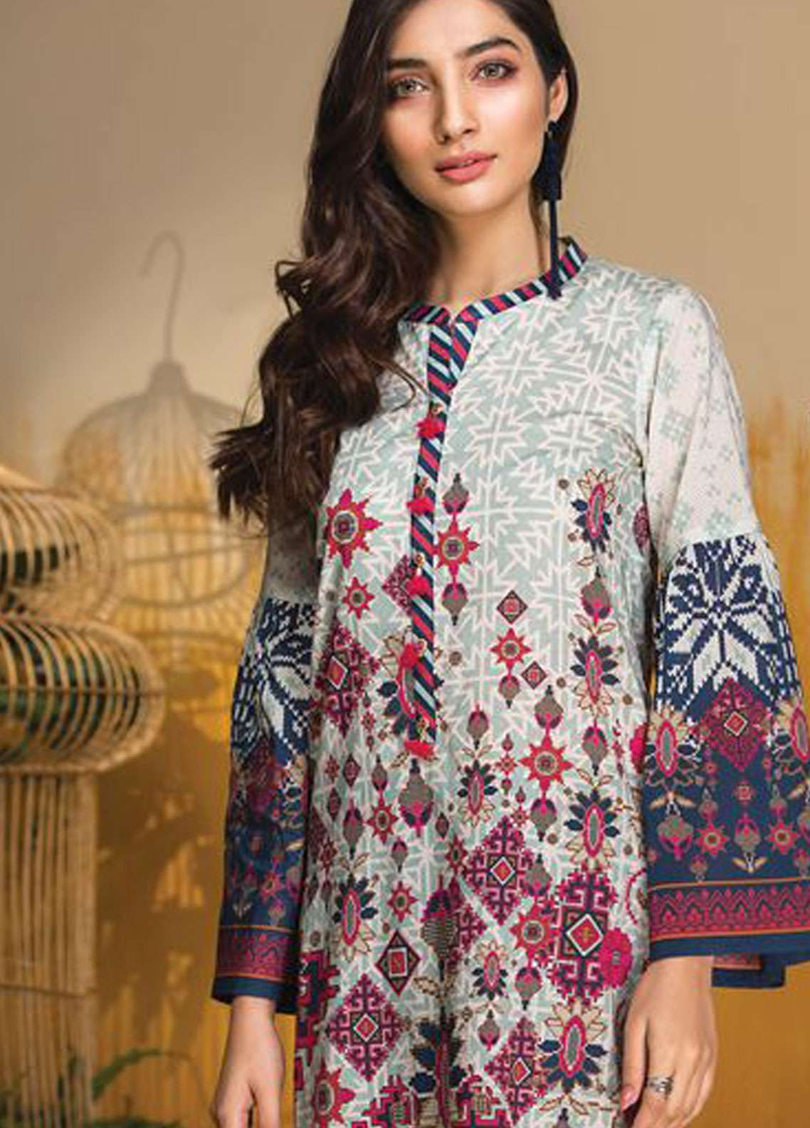 LimeLight Printed Lawn Unstitched Kurties LL19L U0724 Blue Ethnic Top - Spring / Summer Collection