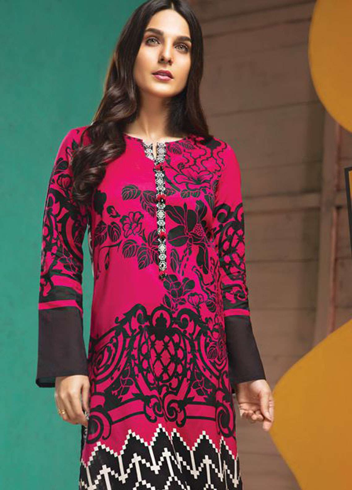 LimeLight Printed Lawn Unstitched Kurties LL19L U0732 Pink Vogue Vivid - Spring / Summer Collection