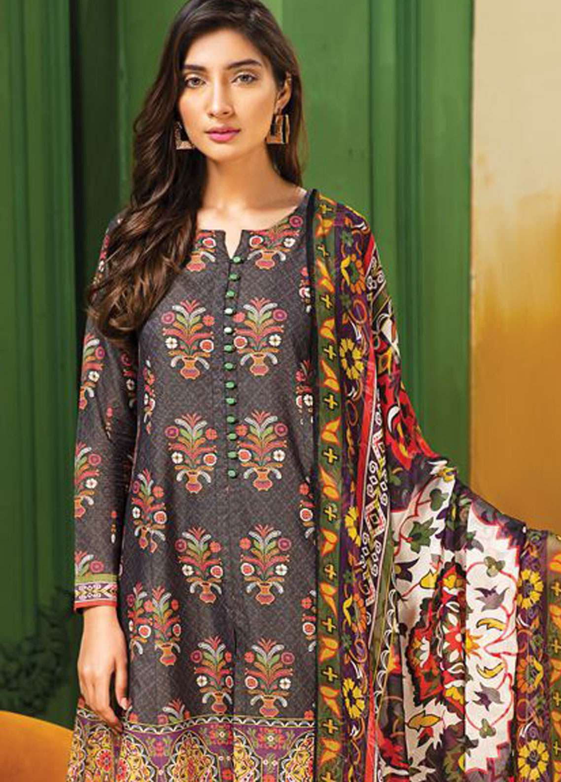 LimeLight Printed Lawn Unstitched 2 Piece Suit LL19L U0738 Black Gardenia - Spring / Summer Collection