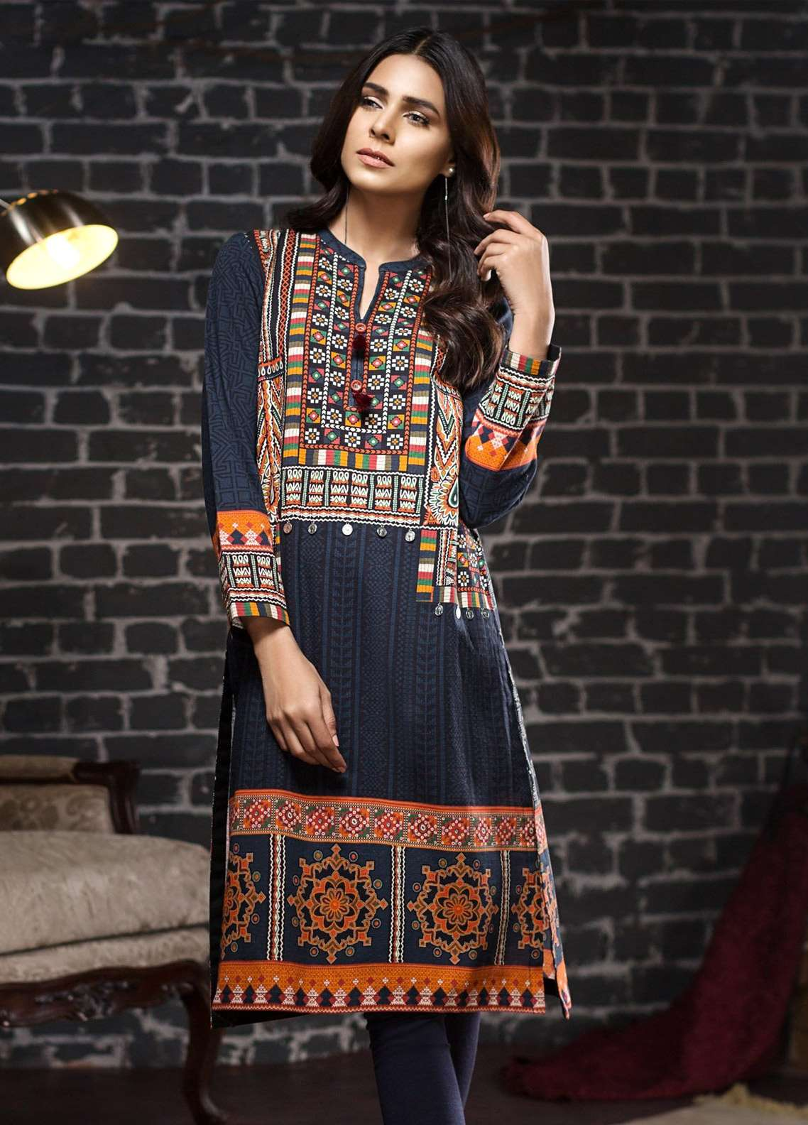LimeLight Printed Khaddar Unstitched Kurties LL18-W2 570 Blue - Winter Collection