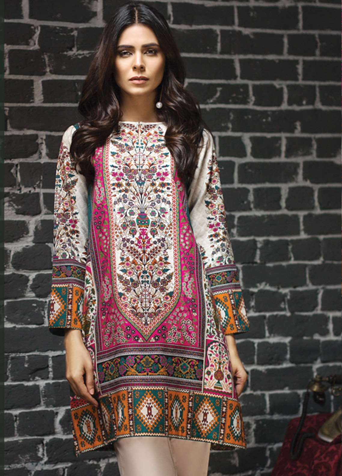 LimeLight Printed Khaddar Unstitched Kurties LL18-W2 584 Green - Winter Collection