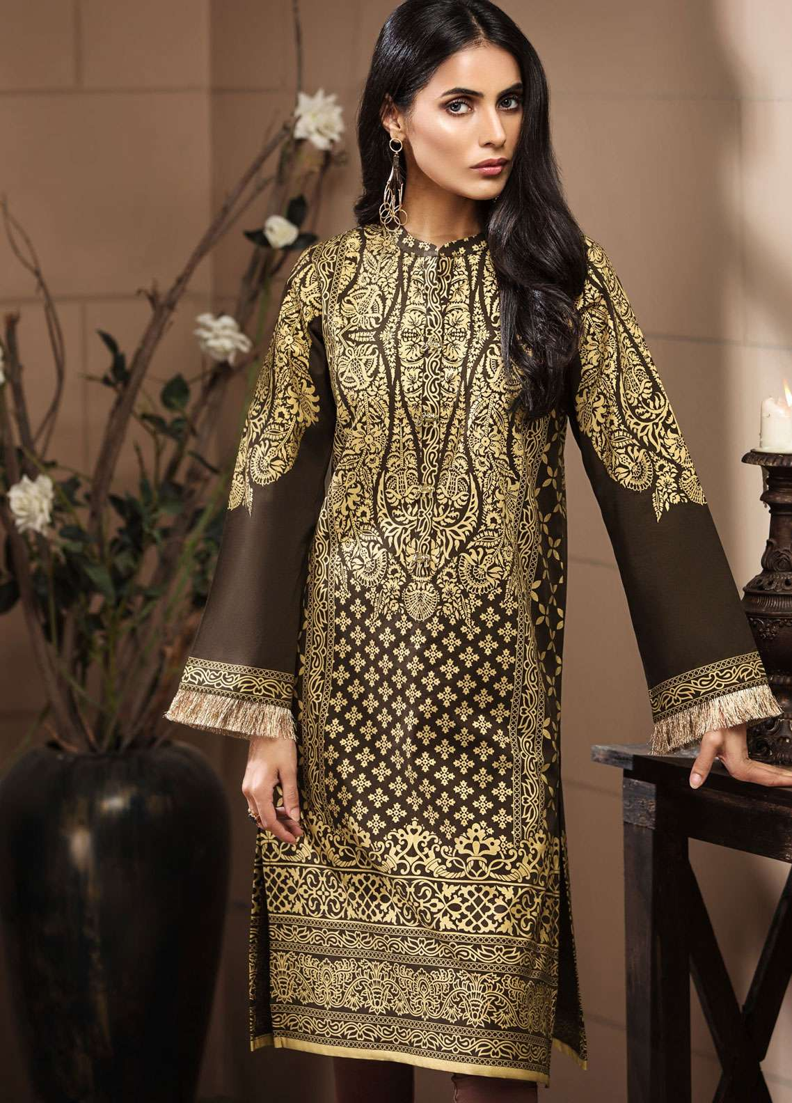 LimeLight Printed Khaddar Unstitched Kurties LL18-W3 461 Brown - Winter Collection