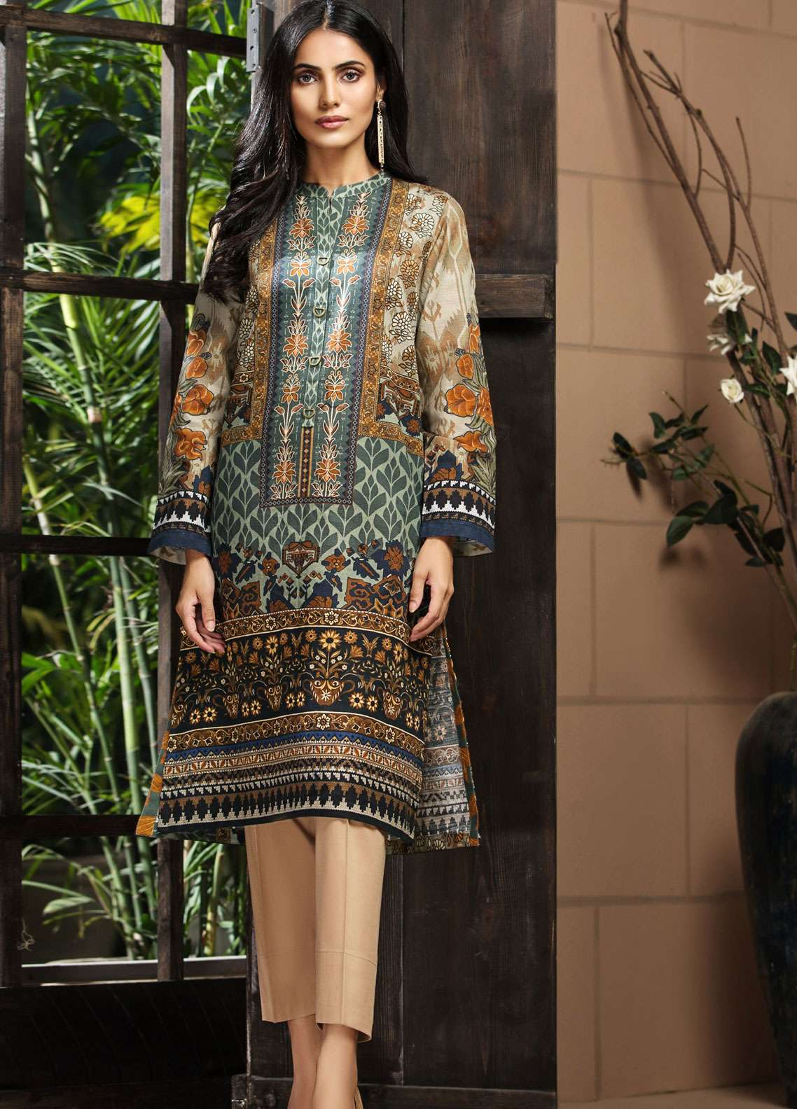 LimeLight Printed Khaddar Unstitched Kurties LL18-W3 483 Green - Winter Collection