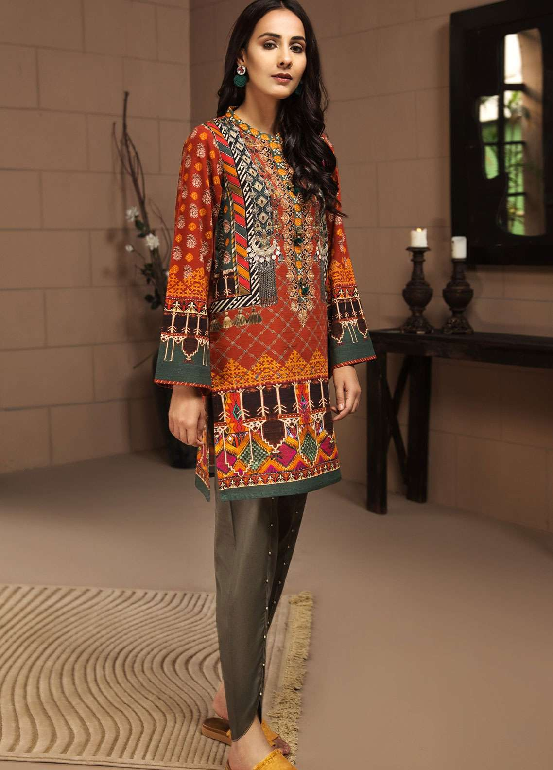 LimeLight Printed Khaddar Unstitched Kurties LL18-W3 498 Orange - Winter Collection