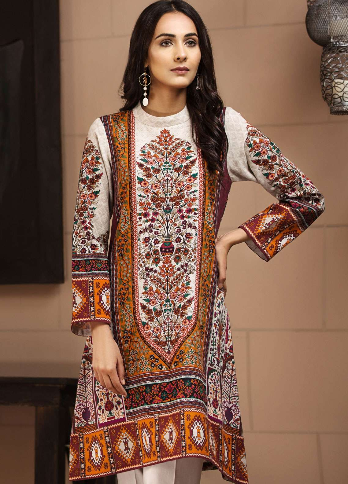LimeLight Printed Khaddar Unstitched Kurties LL18-W3 584 Beige - Winter Collection