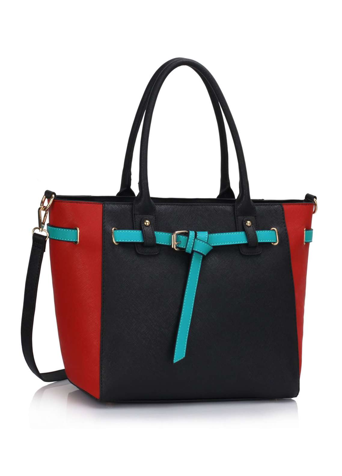 Fashion OnlyFaux Leather Tote  Bags  for Women  Multi with Buckle Belts