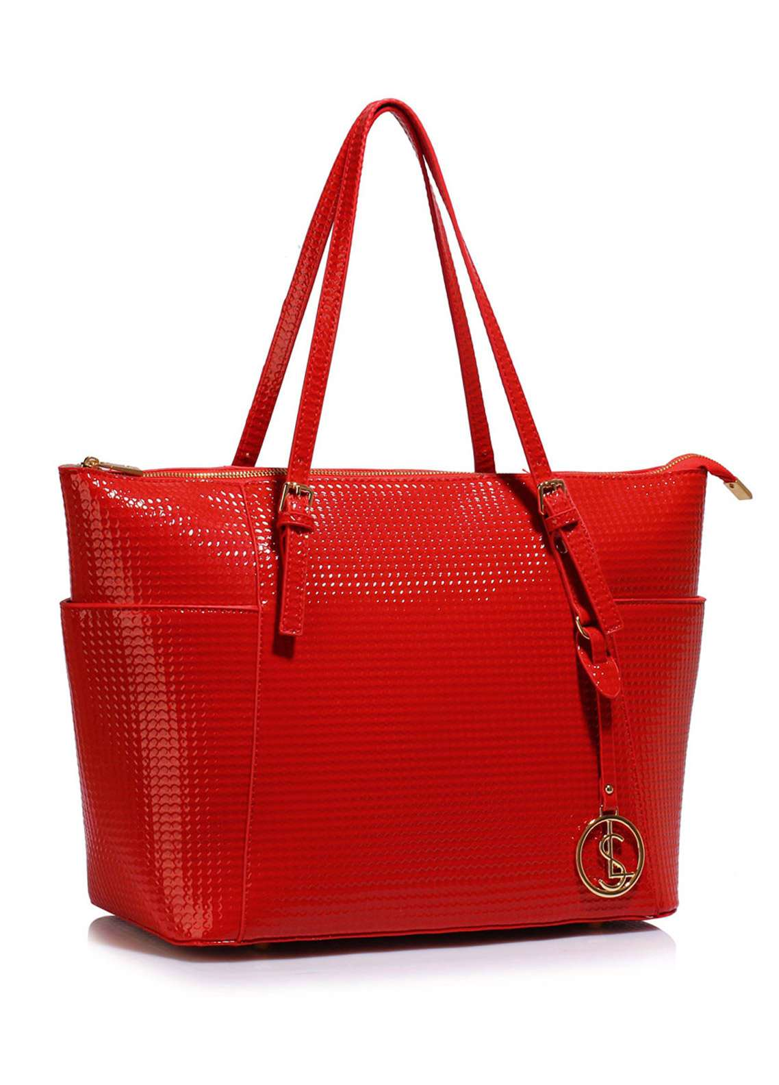 Leesun London Faux Leather Tote Bags for Women Red