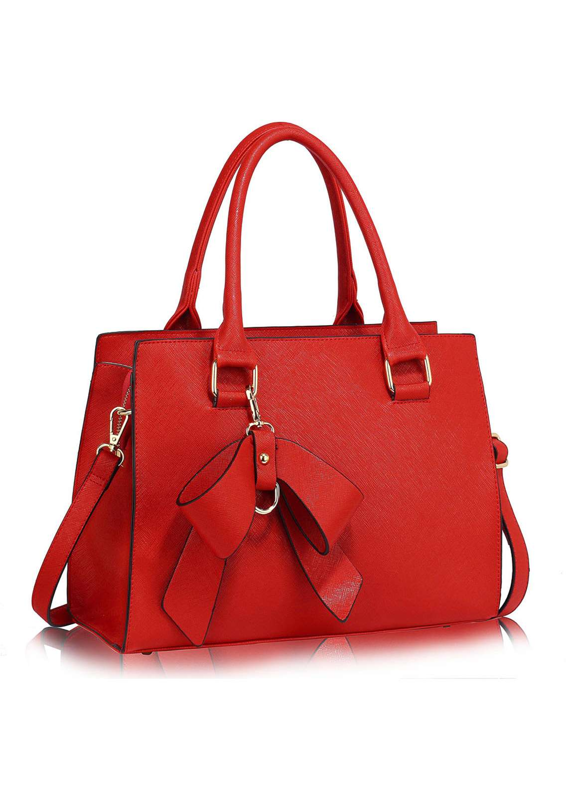 Leesun London Faux Leather Satchels Bags  for Women  Red with Bow Style