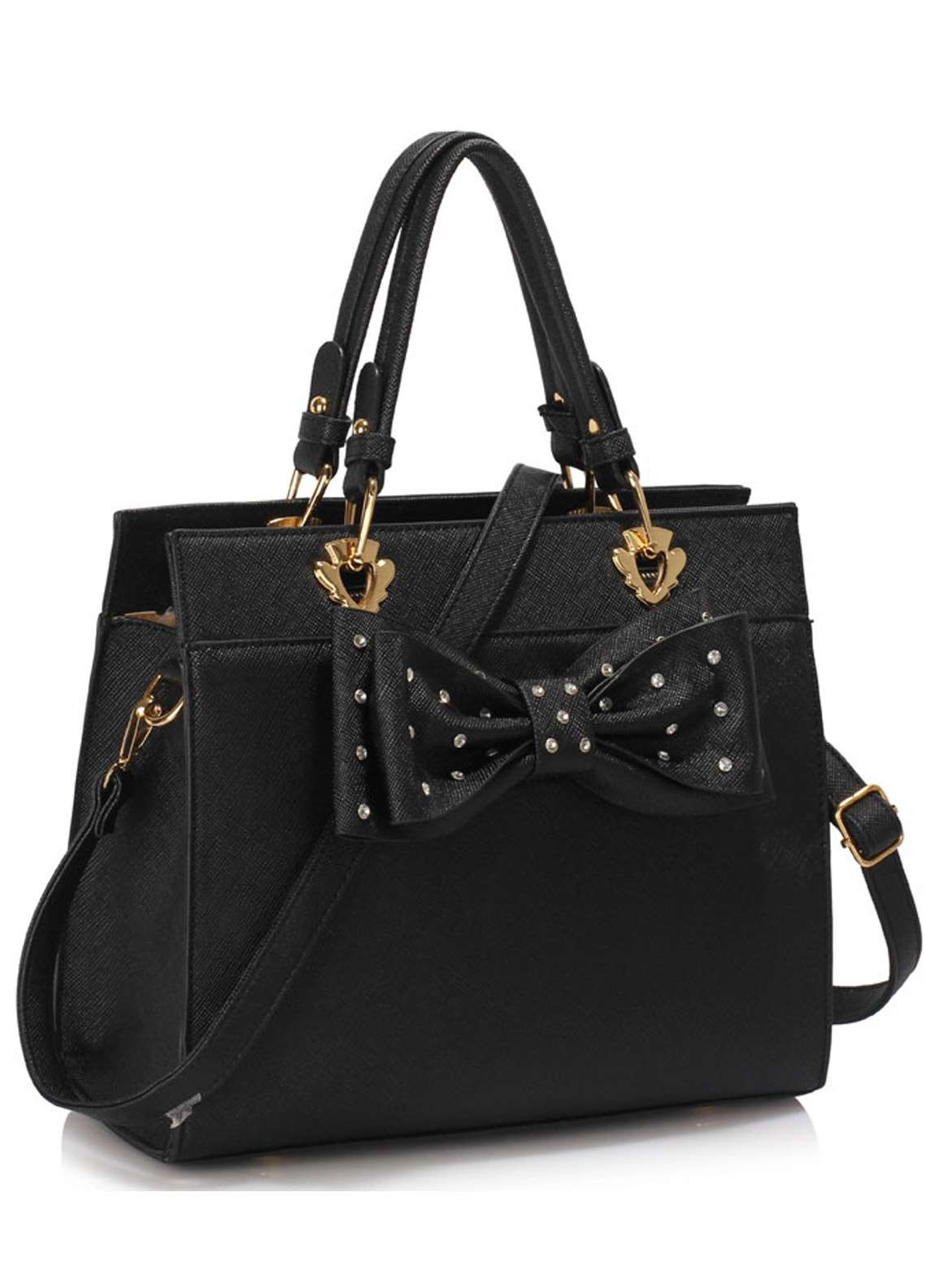 Leesun London Faux Leather Satchels Bags  for Women  Black with Bow Style