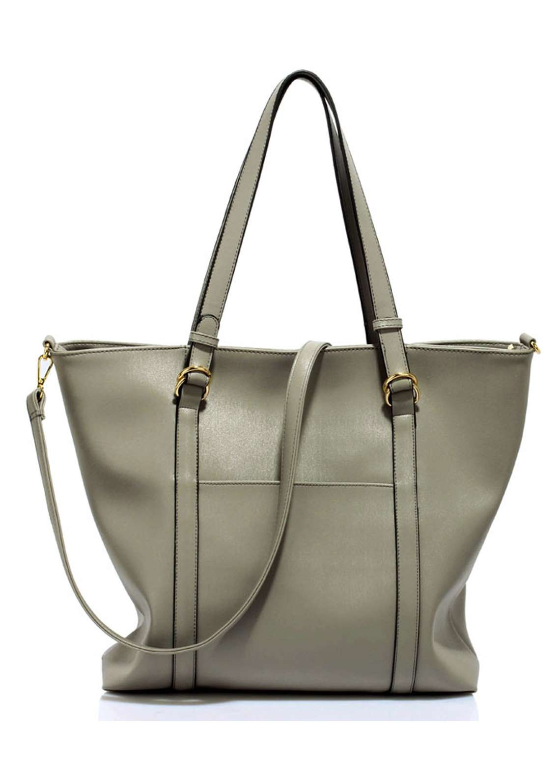 Leesun London Faux Leather Tote Bags for Women Grey