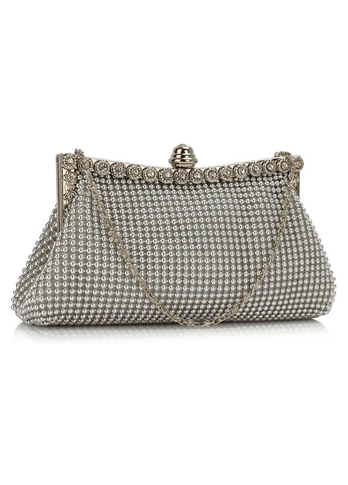 Leesun London  Crystal Clutch Bags  for Women  Silver with Sparkly Crystal