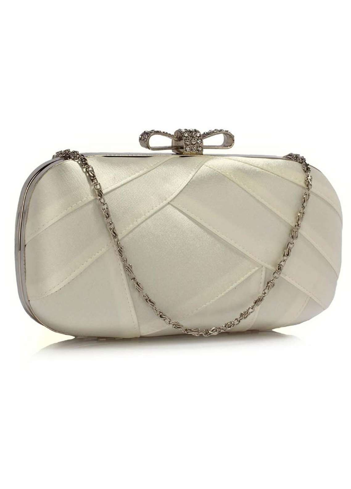 Leesun London  Satin Clutch Bags  for Women  Ivory with Plain Texture