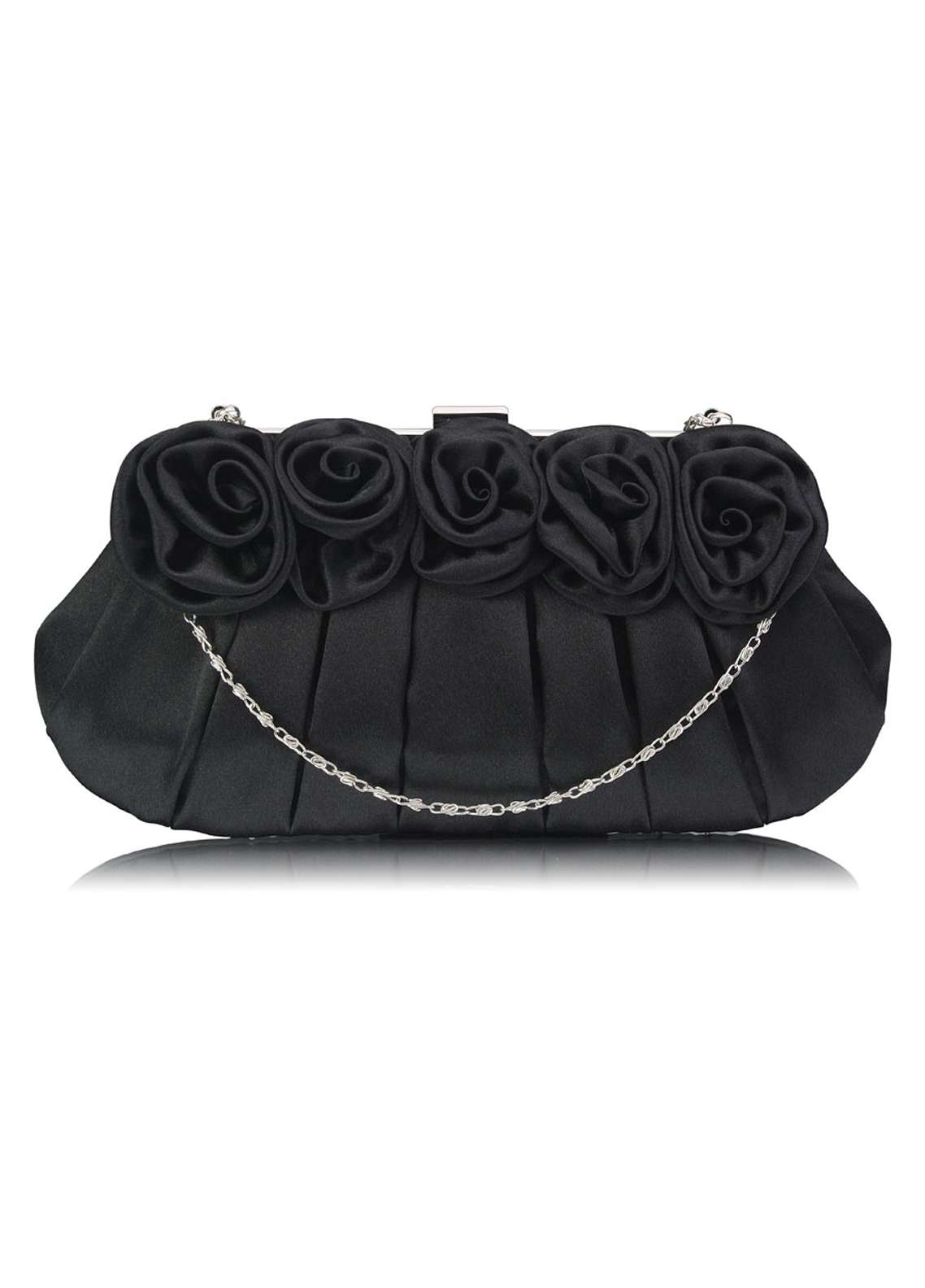 Leesun London   Clutch Bags  for Women  Black with Flower Design
