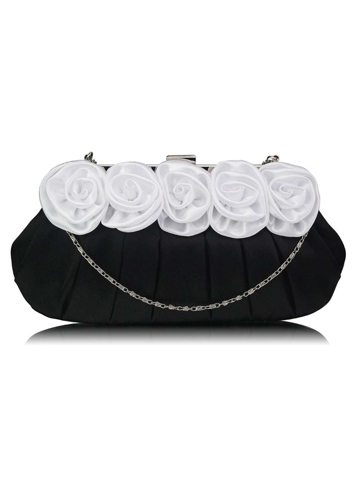 Leesun London   Clutch Bags  for Women  White with Flower Design