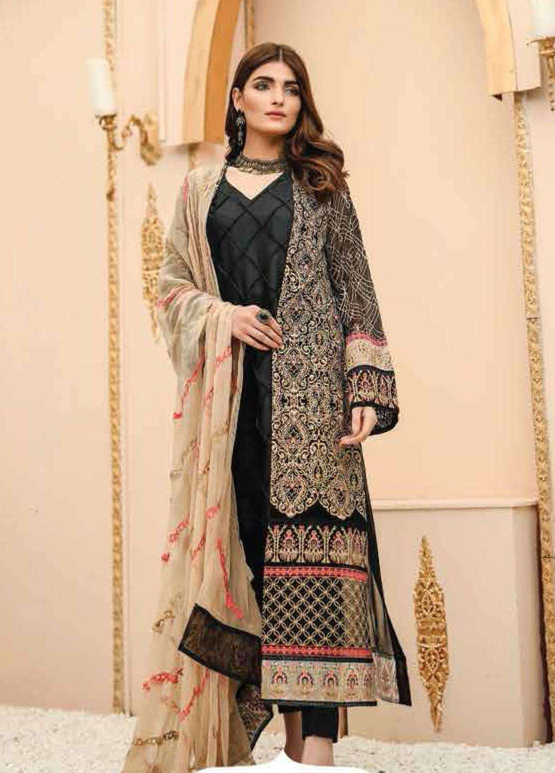 Lakhany Embroidered Chiffon Unstitched 3 Piece Suit LSM19F 5002 MYSTICAL SHADOW - Festive Collection